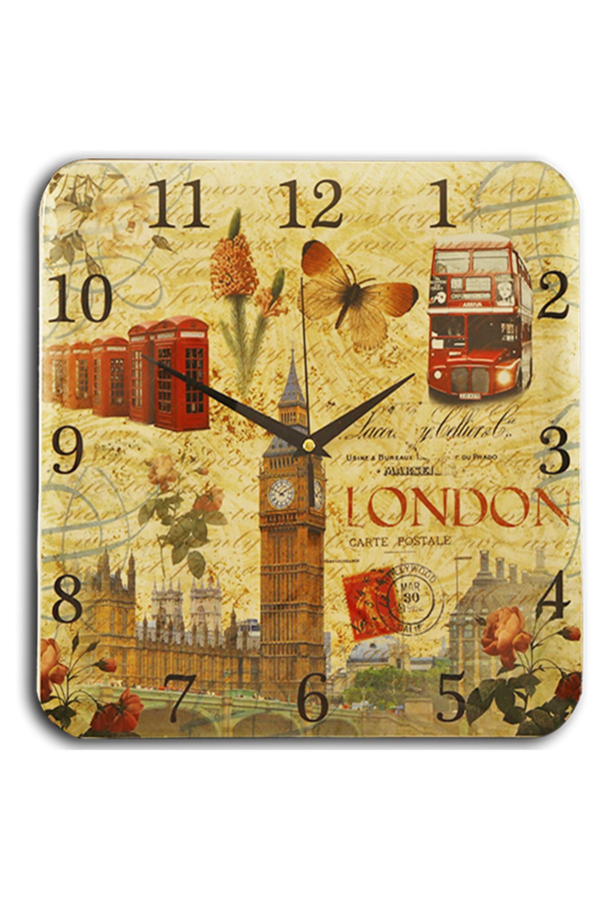 Kare Bombe Çiçekli Dünya Saat