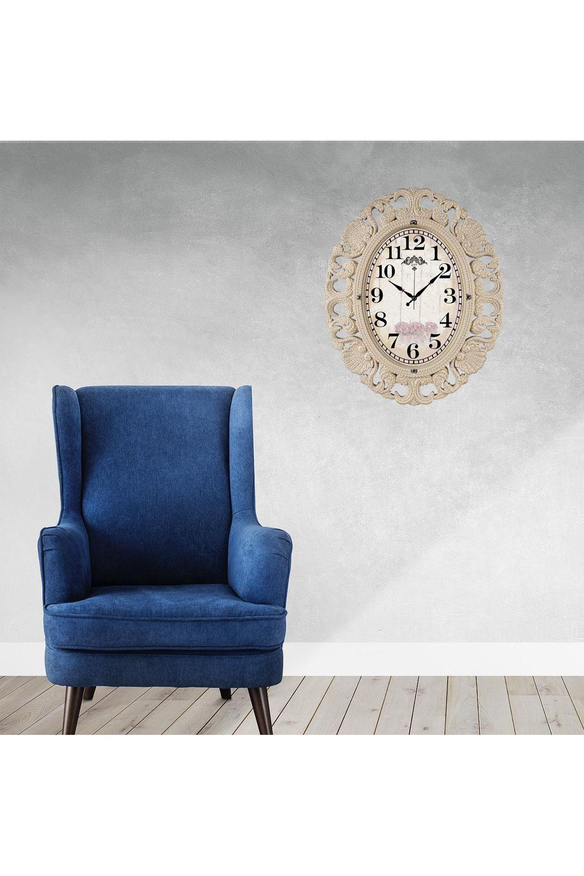 Rikon Büyük Oval Lüx Krem Dekoratif Duvar Saati 63x52 Cm