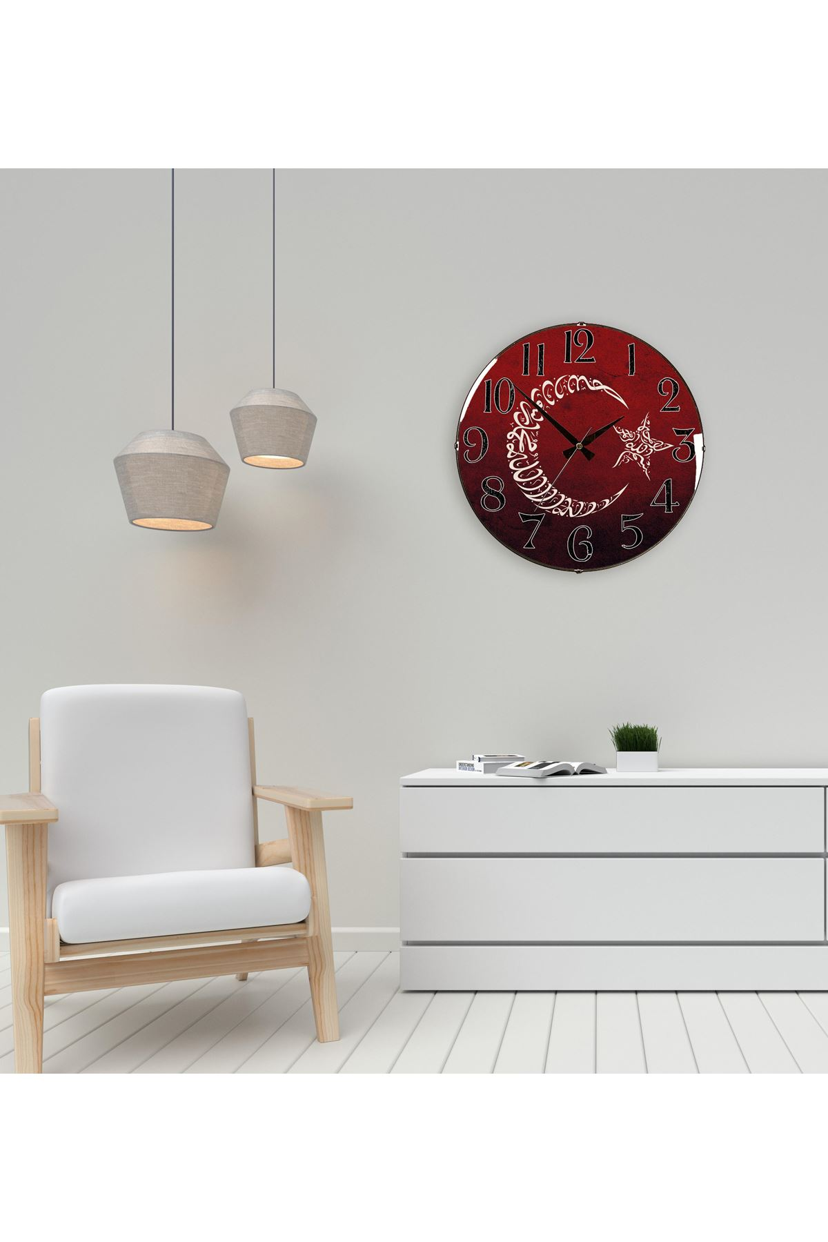 Rikon Motif Türk Bayrağı Dekoratif Bombe Camlı Duvar Saati 35X35Cm