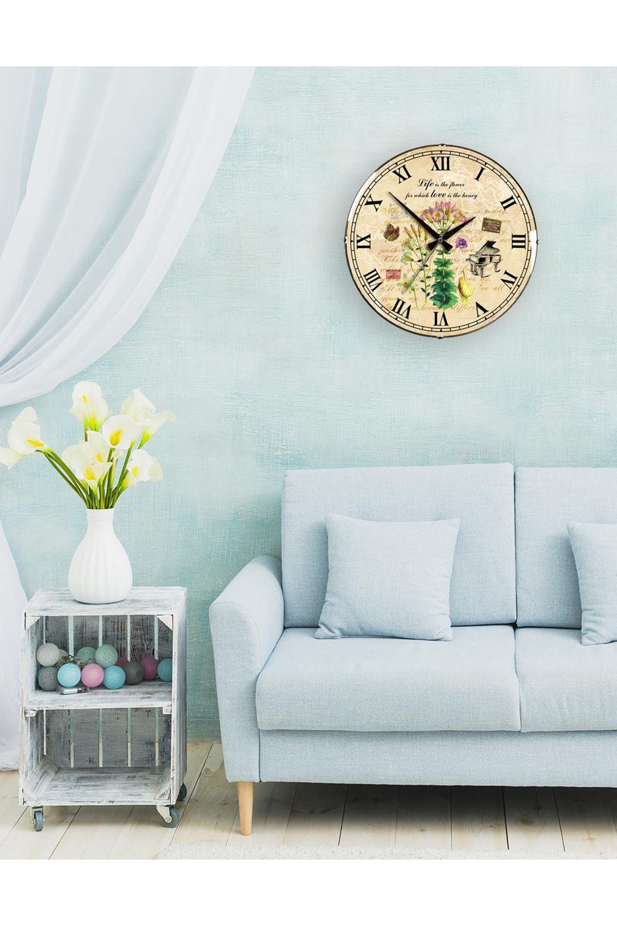 Rikon Eskitme Piano Çiçekli Dekoratif Bombe Camlı Duvar Saati 35X35 Cm