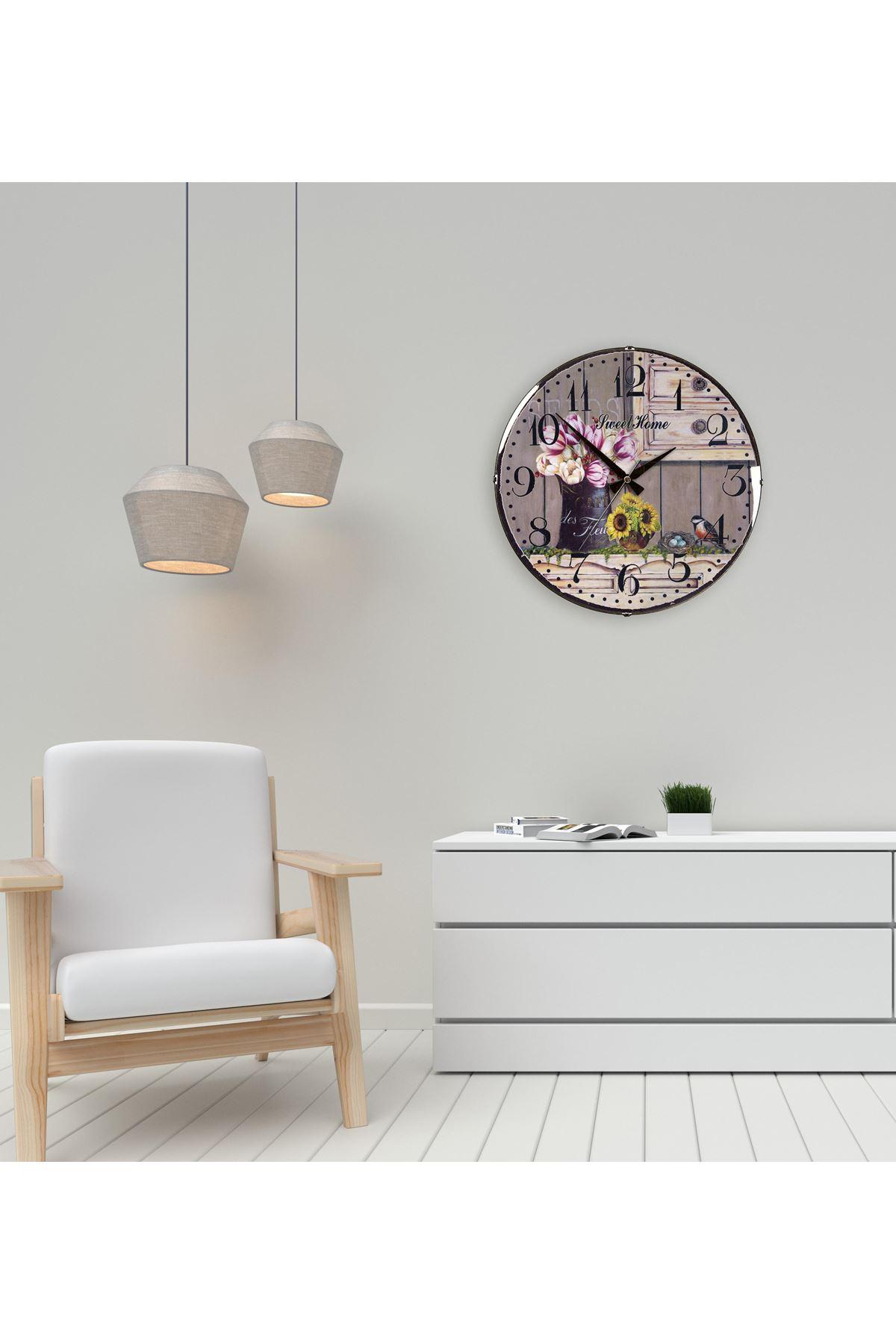 Rikon Eskitme Çiçekli Saksı Dekoratif Bombe Camlı Duvar Saati 35Cm