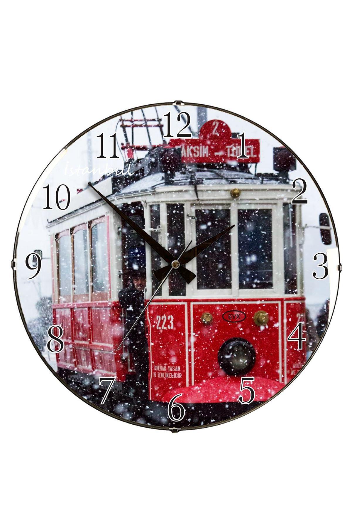 Rikon Taksim Tarihi Tramvay Bombe Camlı Duvar Saati 35X35 Cm