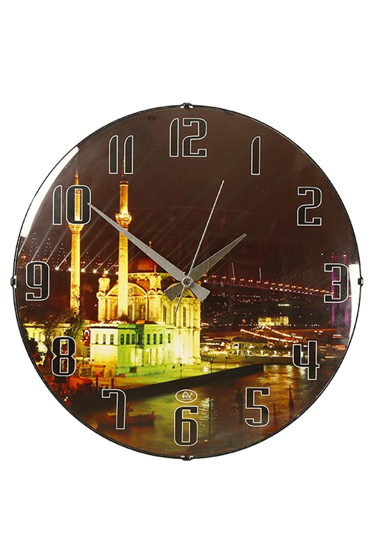 Rikon Ortaköy Cami Temalı Bombe Camlı Duvar Saati 35X35 Cm