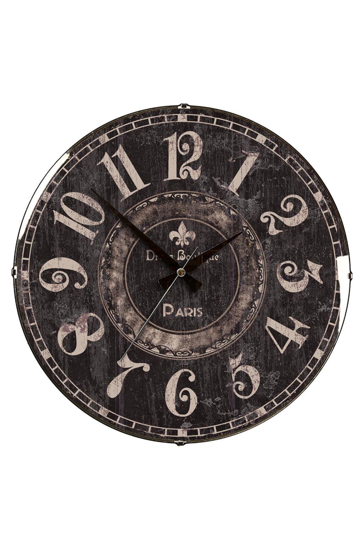Rikon Eskitme Black Dekoratif Bombe Camlı Duvar Saati 35X35 Cm
