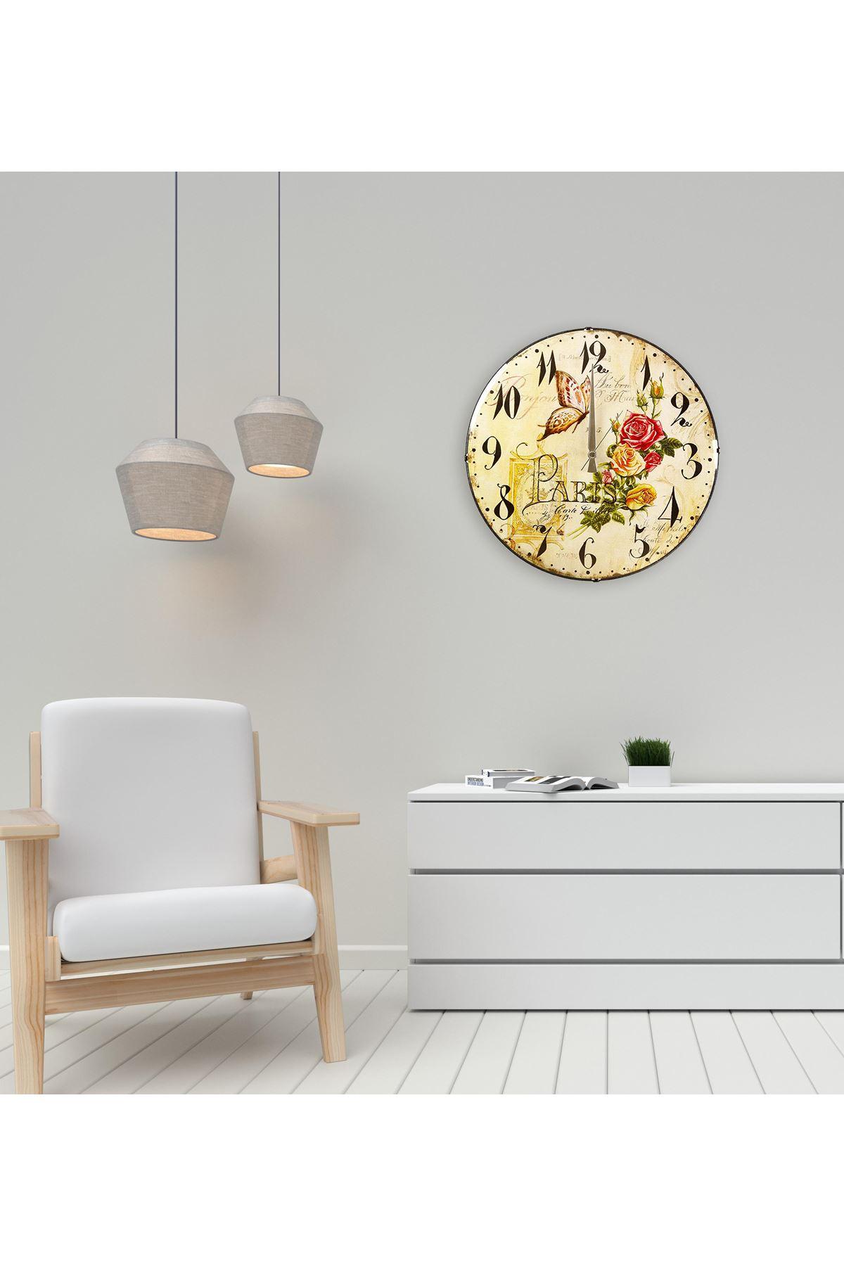 Rikon Çiçek Desenli Kelebek Bombe Camlı Duvar Saati 35X35 Cm