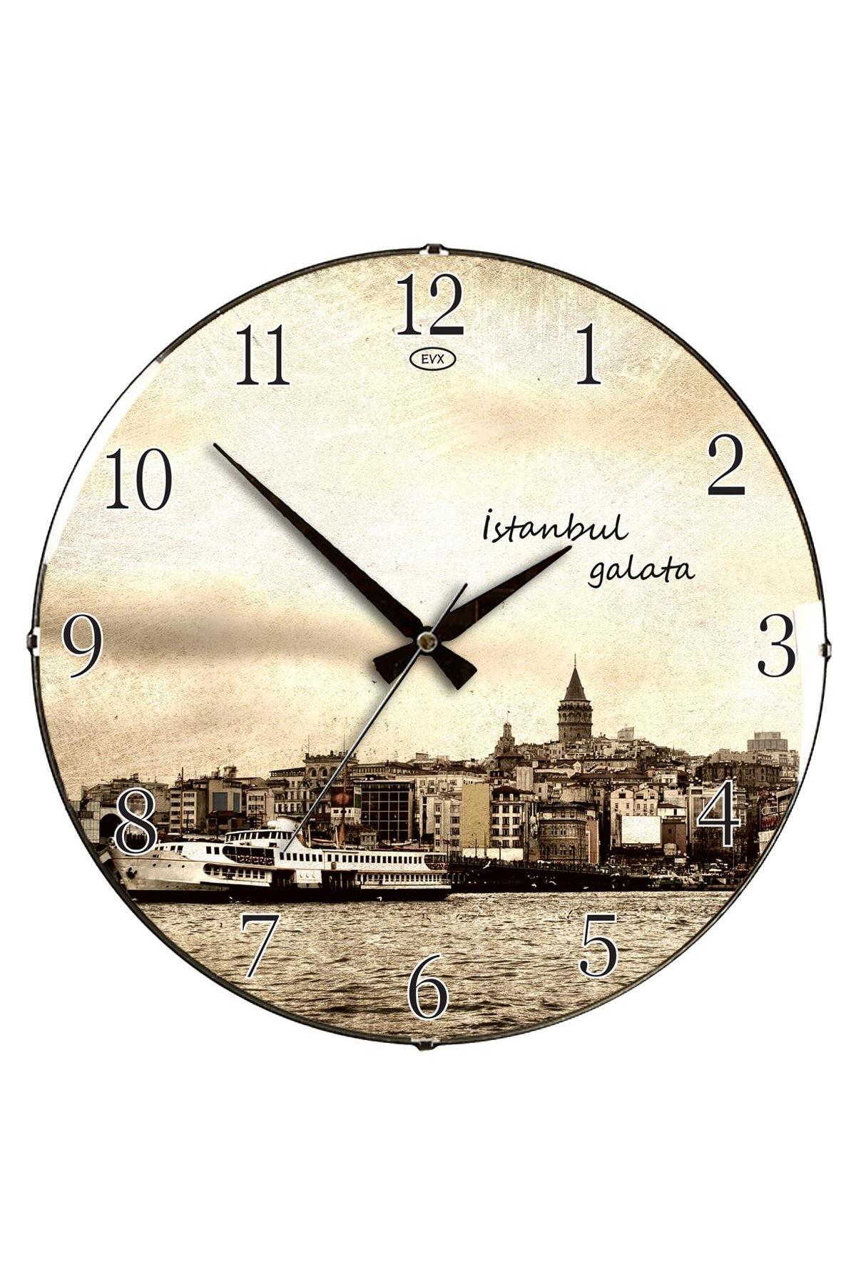 Rikon Eski İstanbul Dekoratif Bombe Camlı Duvar Saati 35X35 Cm