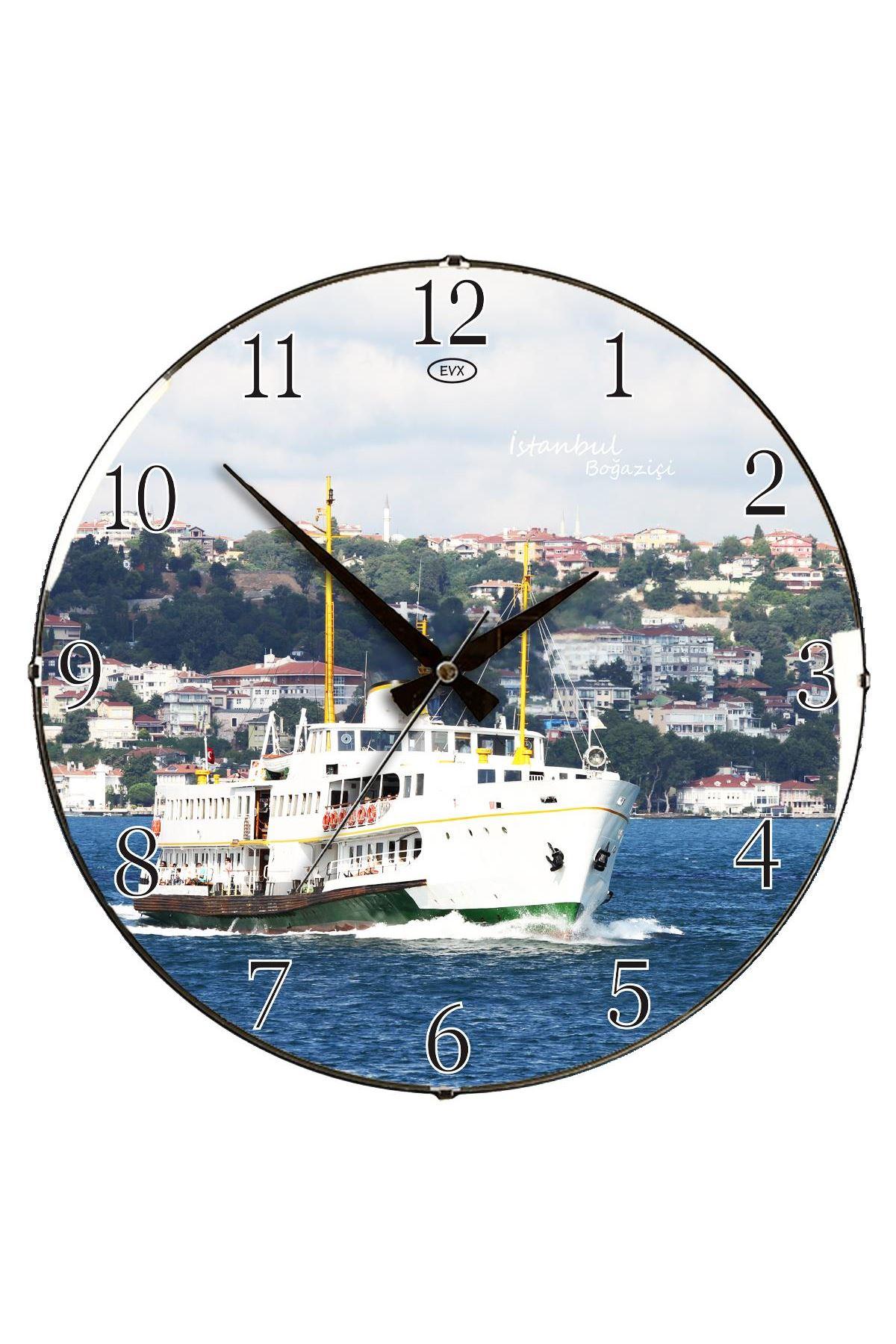 Rikon Kadıköy Vapuru Dekoratif Bombe Camlı Duvar Saati 35X35 Cm