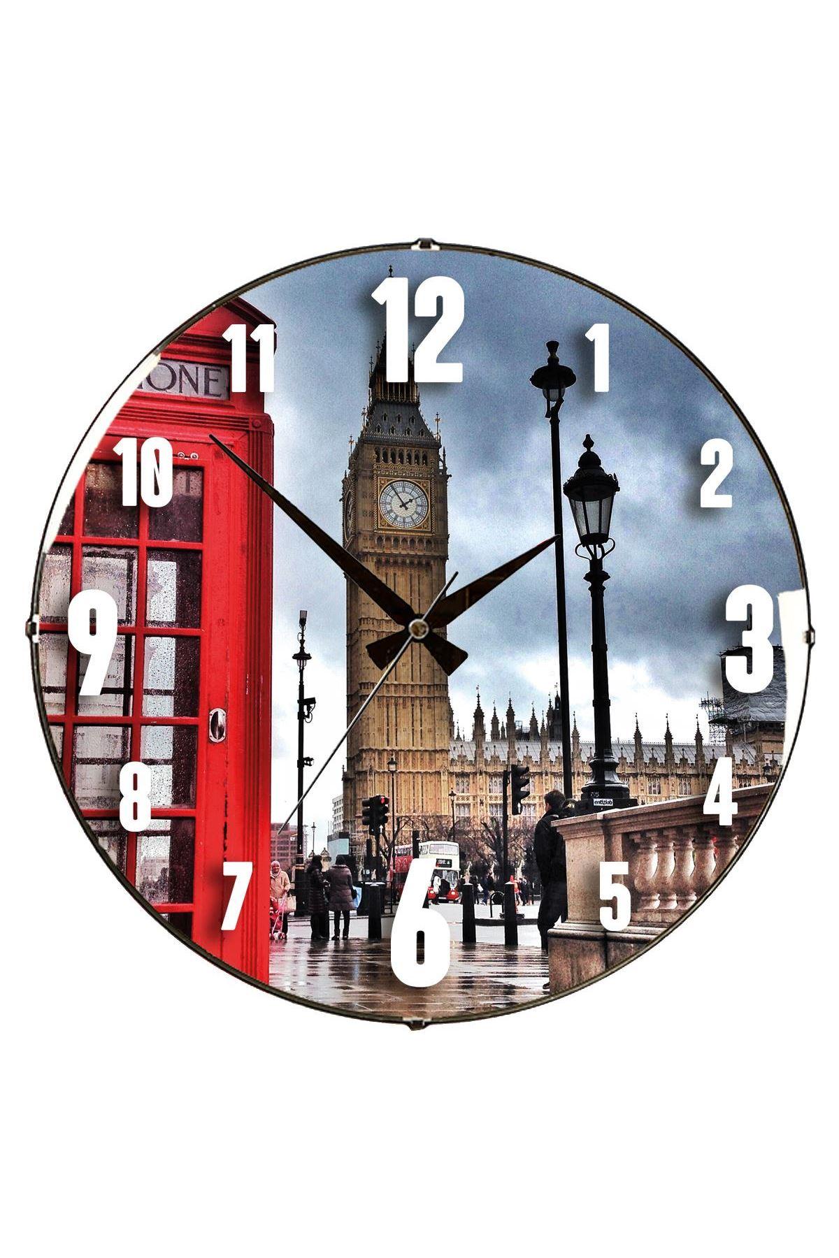Rikon Londra Red Kulübe Dekoratif Bombe Camlı Duvar Saati 35X35 Cm