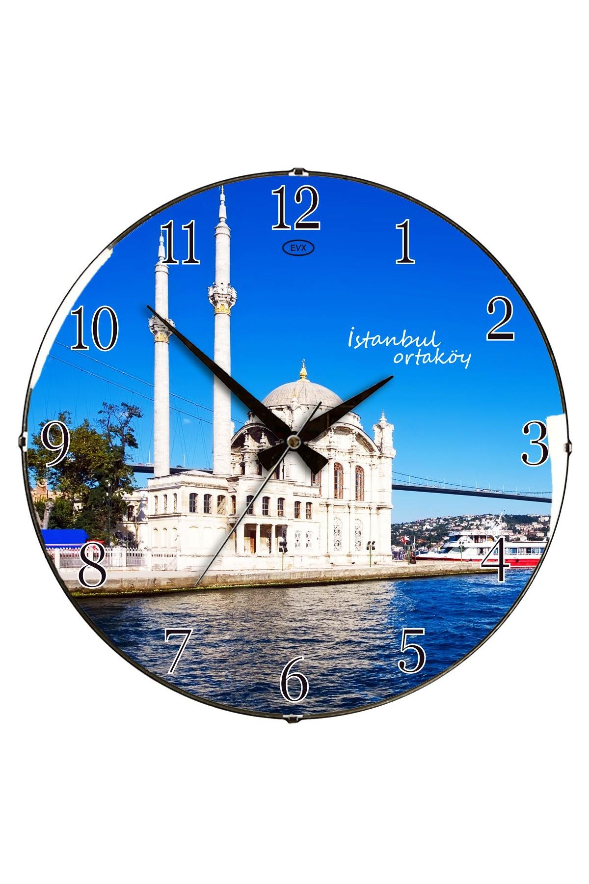 Rikon Ortaköy Camii Dekoratif Bombe Camlı Duvar Saati 35X35 Cm