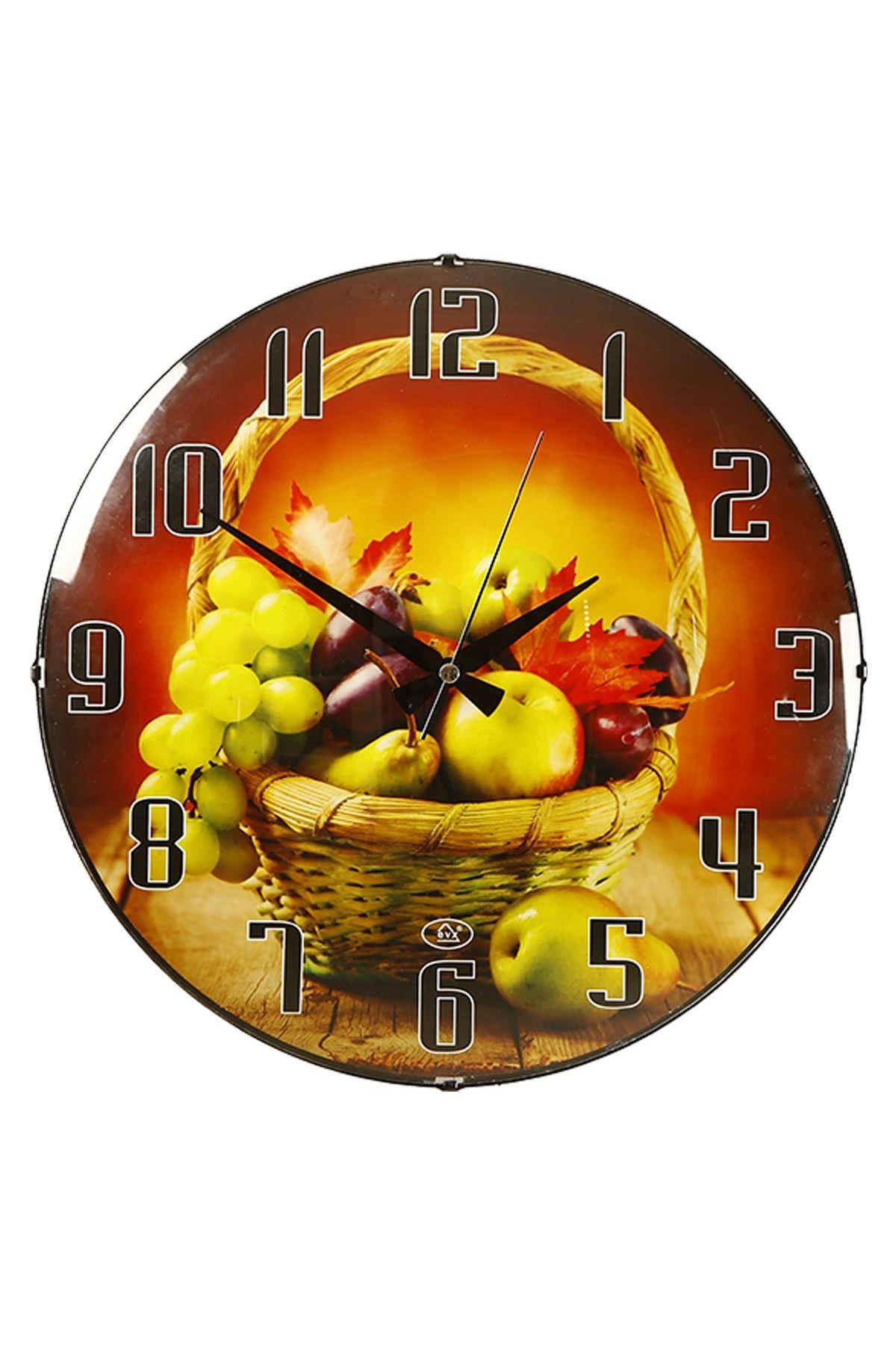 Rikon Meyve Sepeti Desenli Bombe Camlı Duvar Saati 35X35 Cm