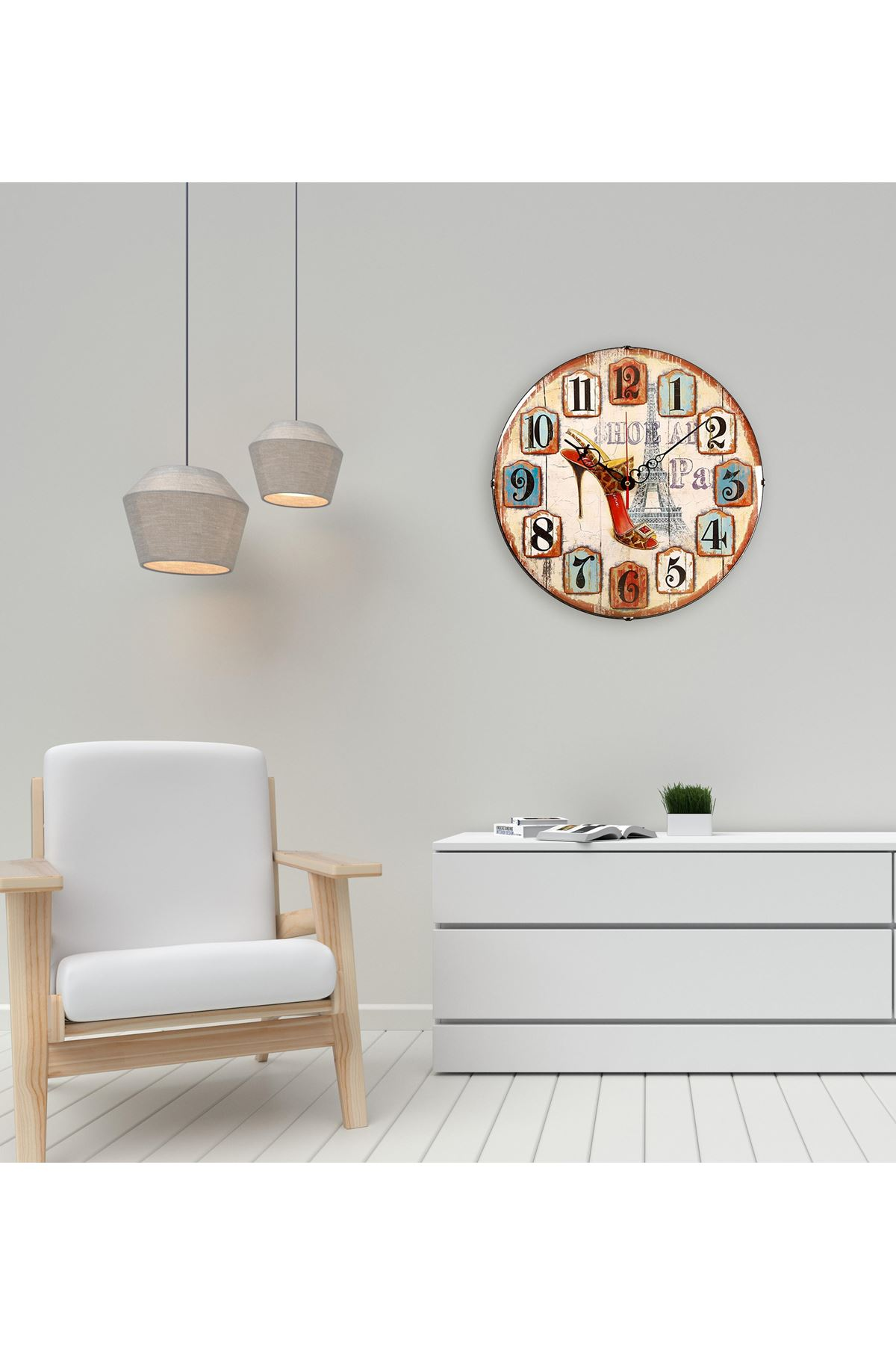 Rikon Dekoratif Paris Temalı Bombe Camlı Duvar Saati 35X35 Cm