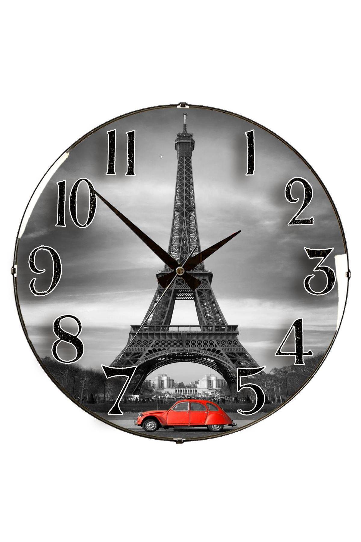 Rikon Paris Dekoratif Bombe Camlı Duvar Saati 35X35 Cm