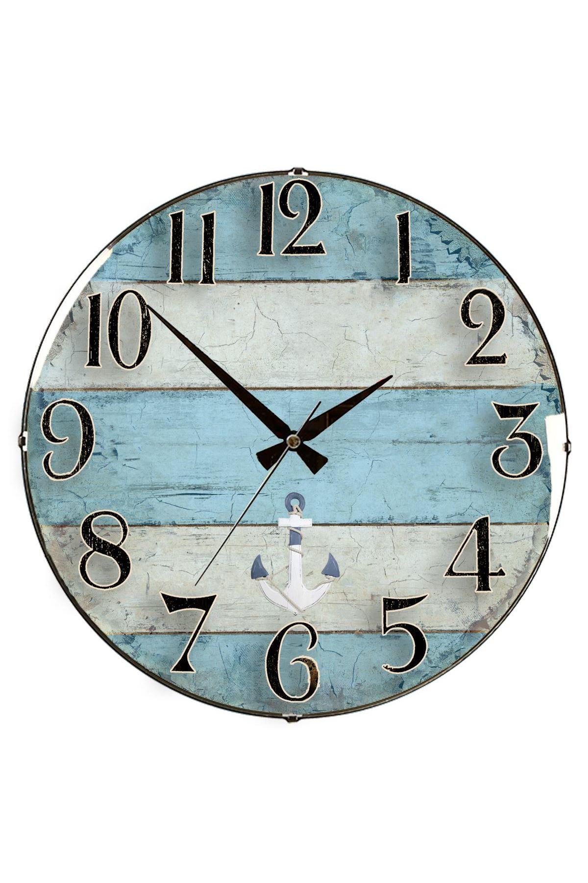 Rikon Deniz Çapası Dekoratif Bombe Camlı Duvar Saati 35X35 Cm