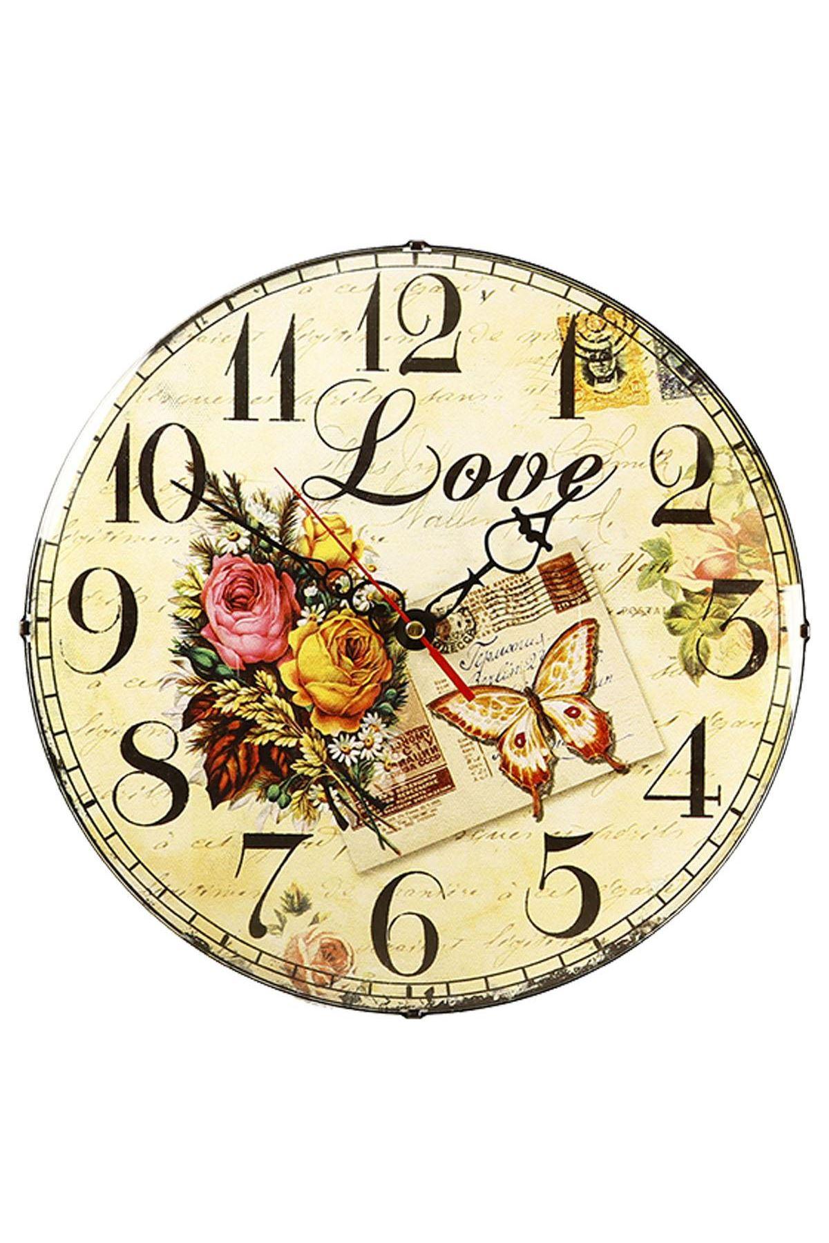 Rikon Çiçek Desenli Love Bombe Camlı Duvar Saati 35X35 Cm