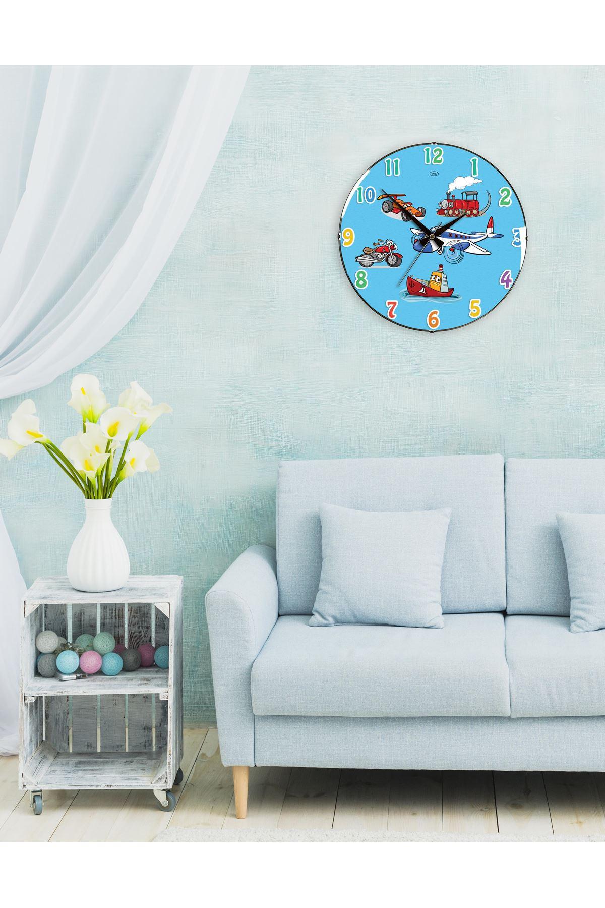 Rikon Çocuk Odası Uçaklar Dekoratif Bombe Camlı Duvar Saati 35X35
