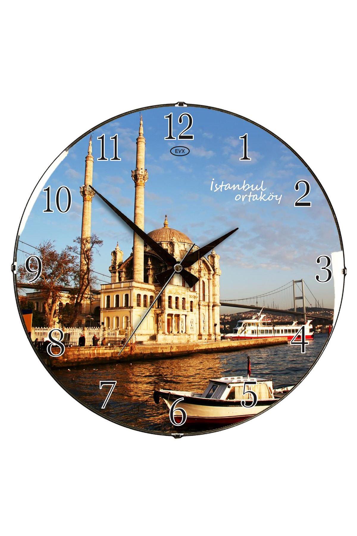 Rikon Ortaköy Camiii Dekoratif Bombe Camlı Duvar Saati 35X35 Cm