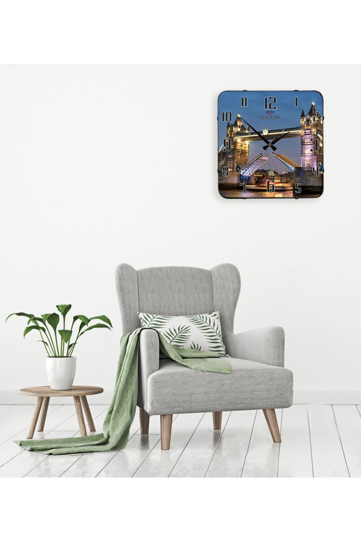 Rikon Londra Köprüsü Dekoratif Bombe Camlı Duvar Saati 35X35 Cm