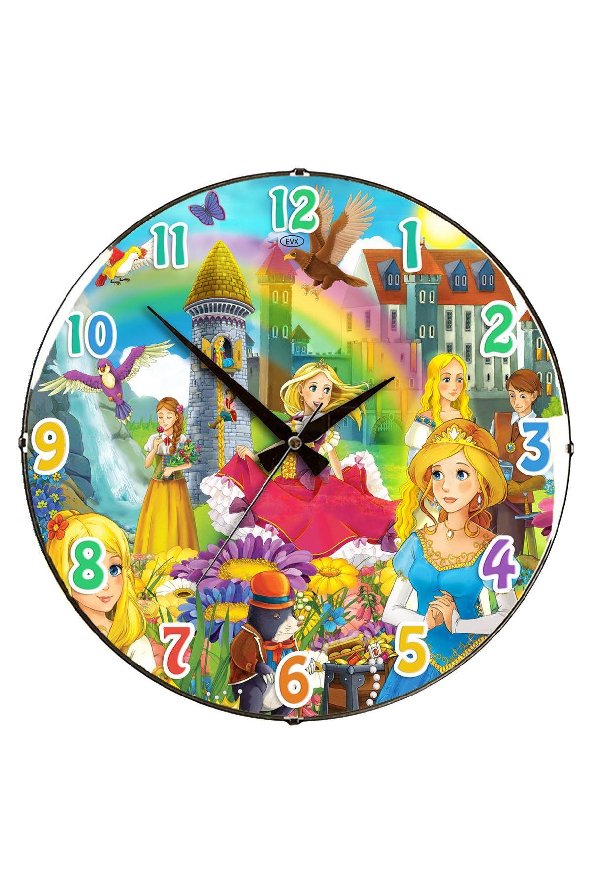 Rikon Kız Çocuk Odası Dekoratif Bombe Camlı Duvar Saati 35X35 Cm