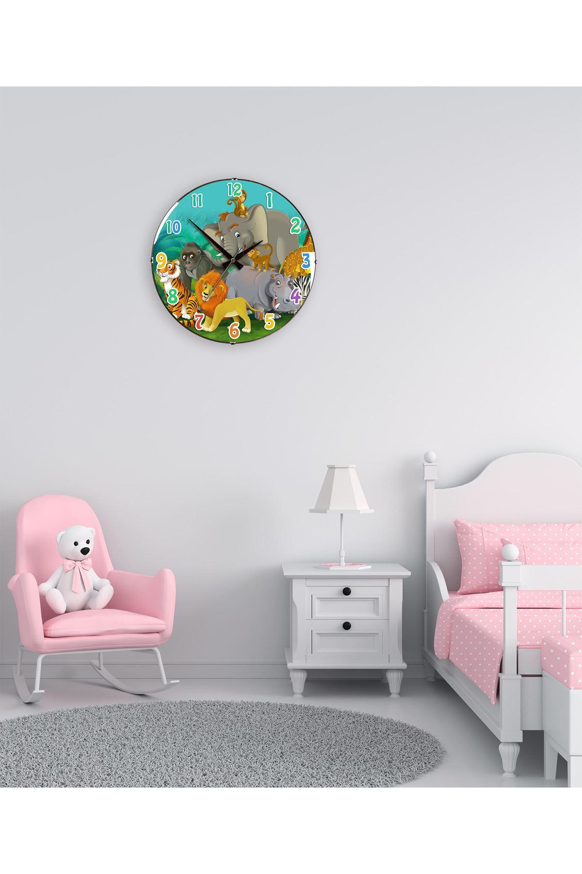 Rikon Çocuk Odası Dekoratif Bombe Camlı Duvar Saati 35X35 Cm