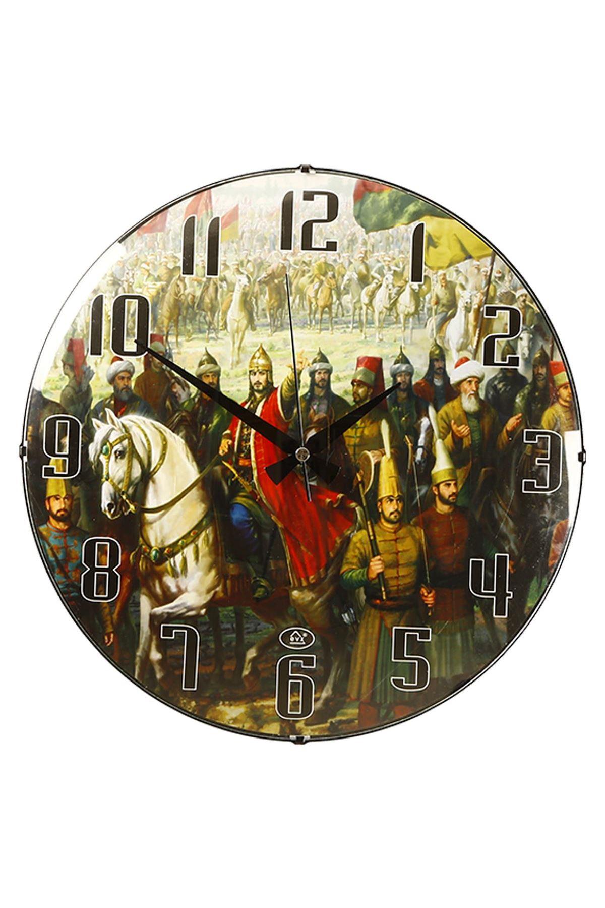 Rikon Fatih Sultan Mehmet Temalı Bombe Camlı Duvar Saati 35X35 Cm