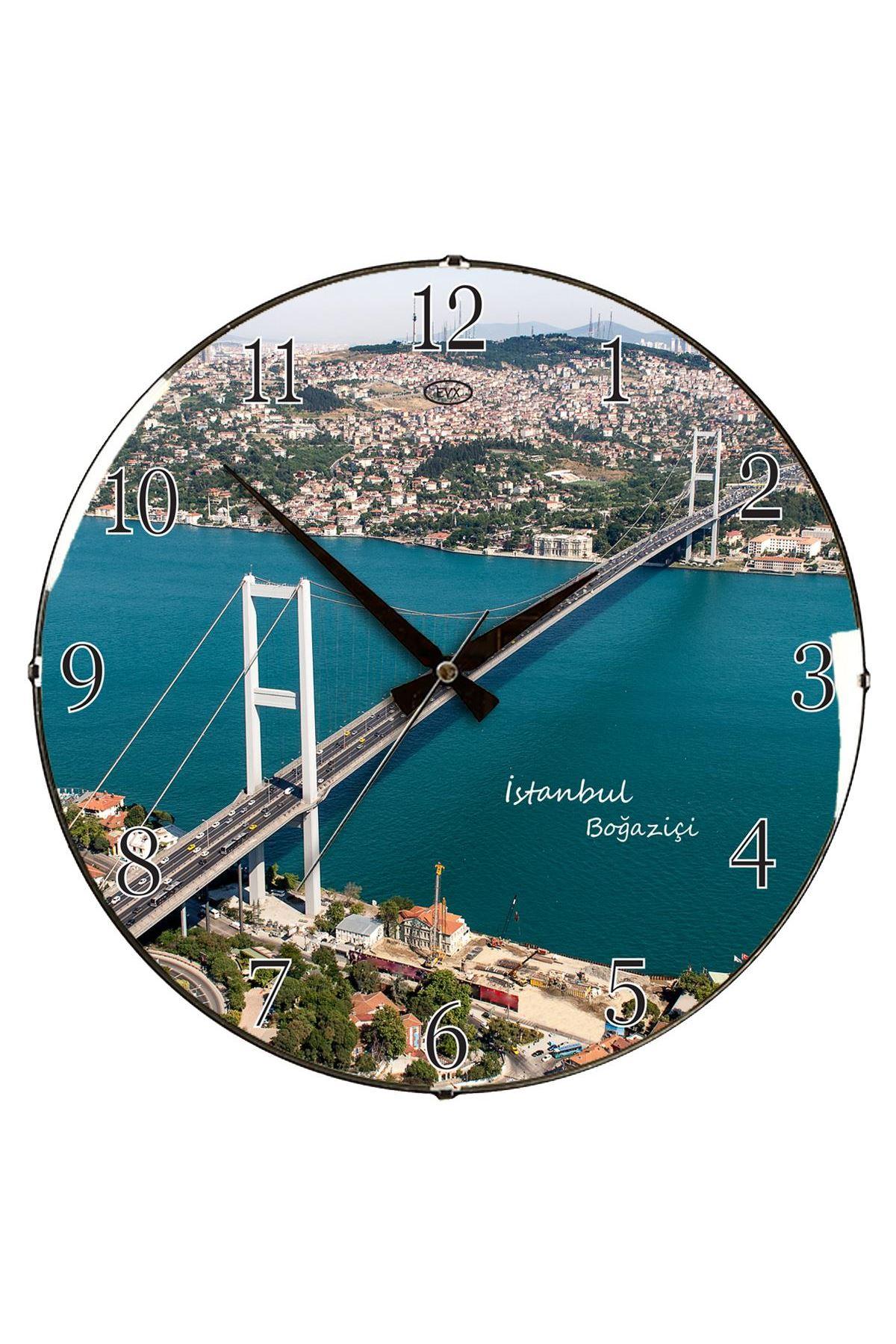 Rikon Boğaziçi Köprüsü Dekoratif Bombe Camlı Duvar Saati 35X35 Cm