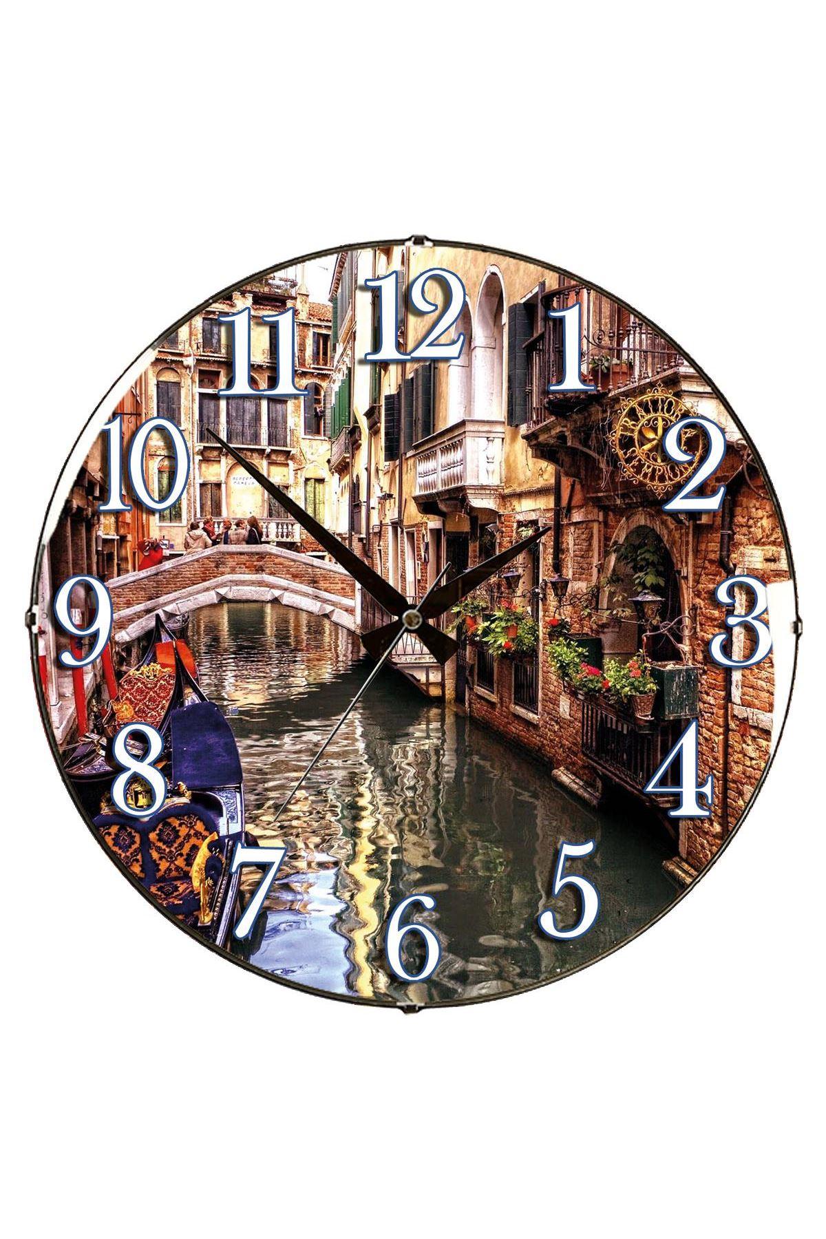 Rikon Venedik Dekoratif Bombe Camlı Duvar Saati 35X35 Cm