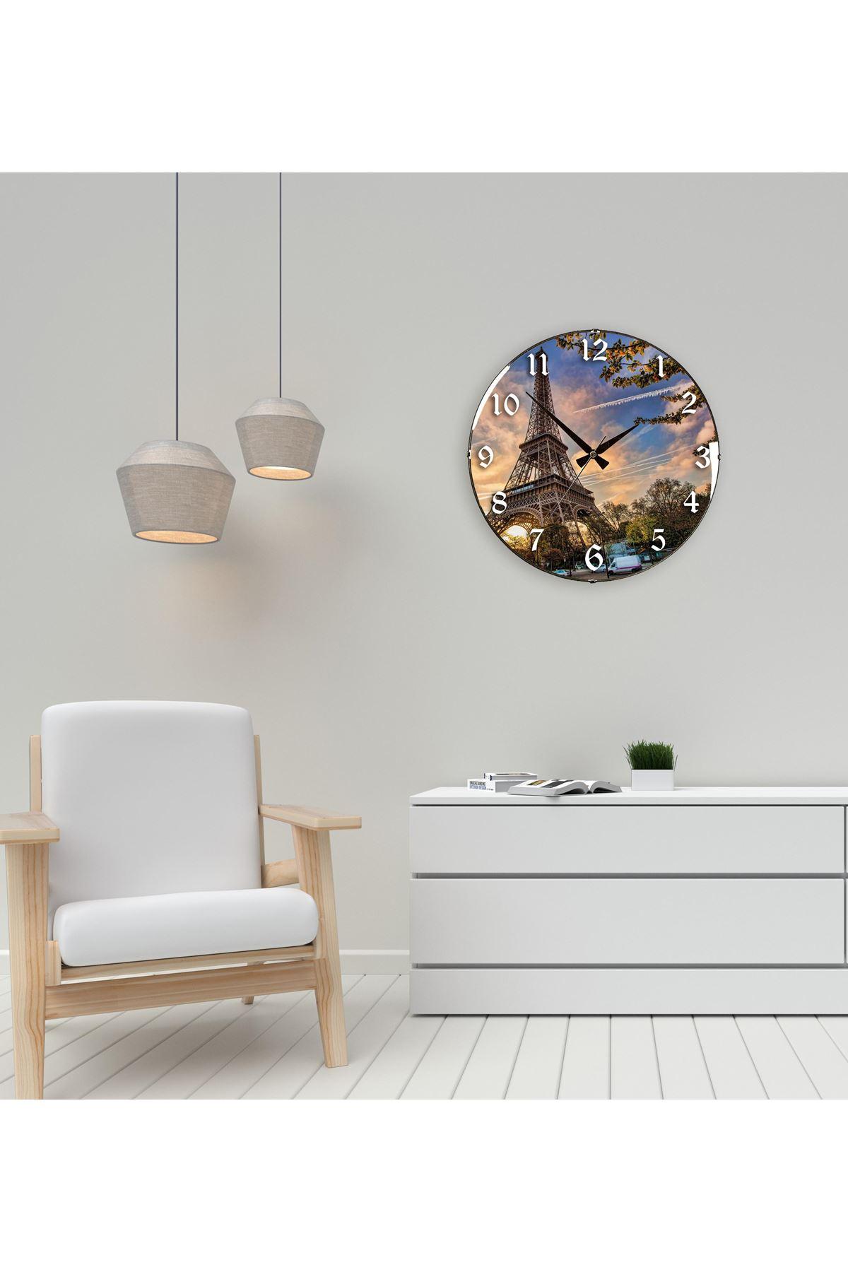 Rikon Paris Eyfel Kulesi Dekoratif Bombe Camlı Duvar Saati 35X35 Cm
