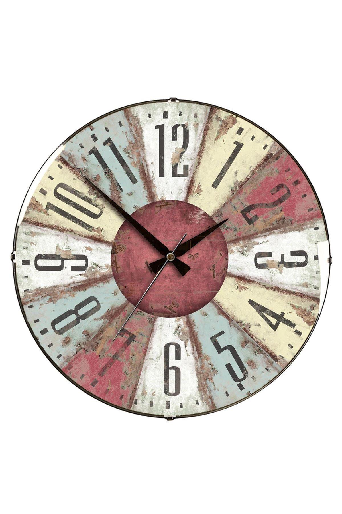 Rikon Eskitme Roma Rakamlı Dekoratif Bombe Camlı Duvar Saati 35X35