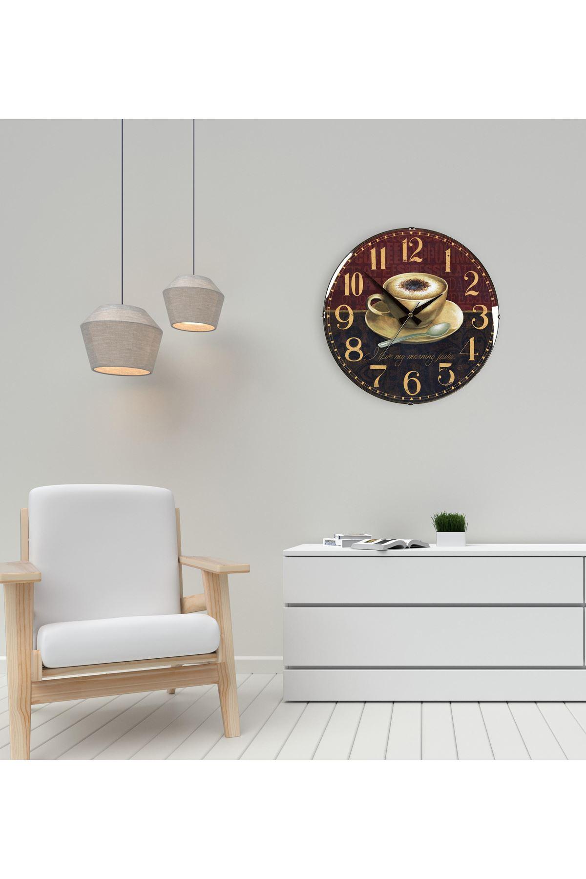 Rikon Kahve Fincanı Dekoratif Bombe Camlı Duvar Saati 35X35 Cm
