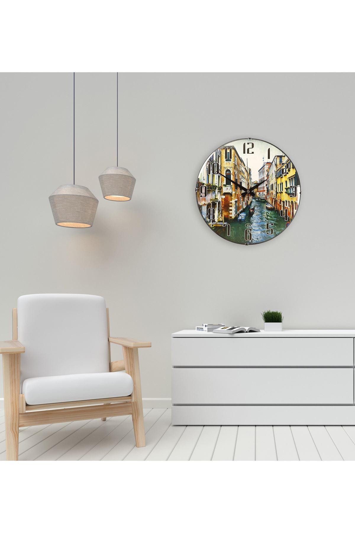 Rikon Venedik Manzaralı Bombe Camlı Duvar Saati 35X35 Cm