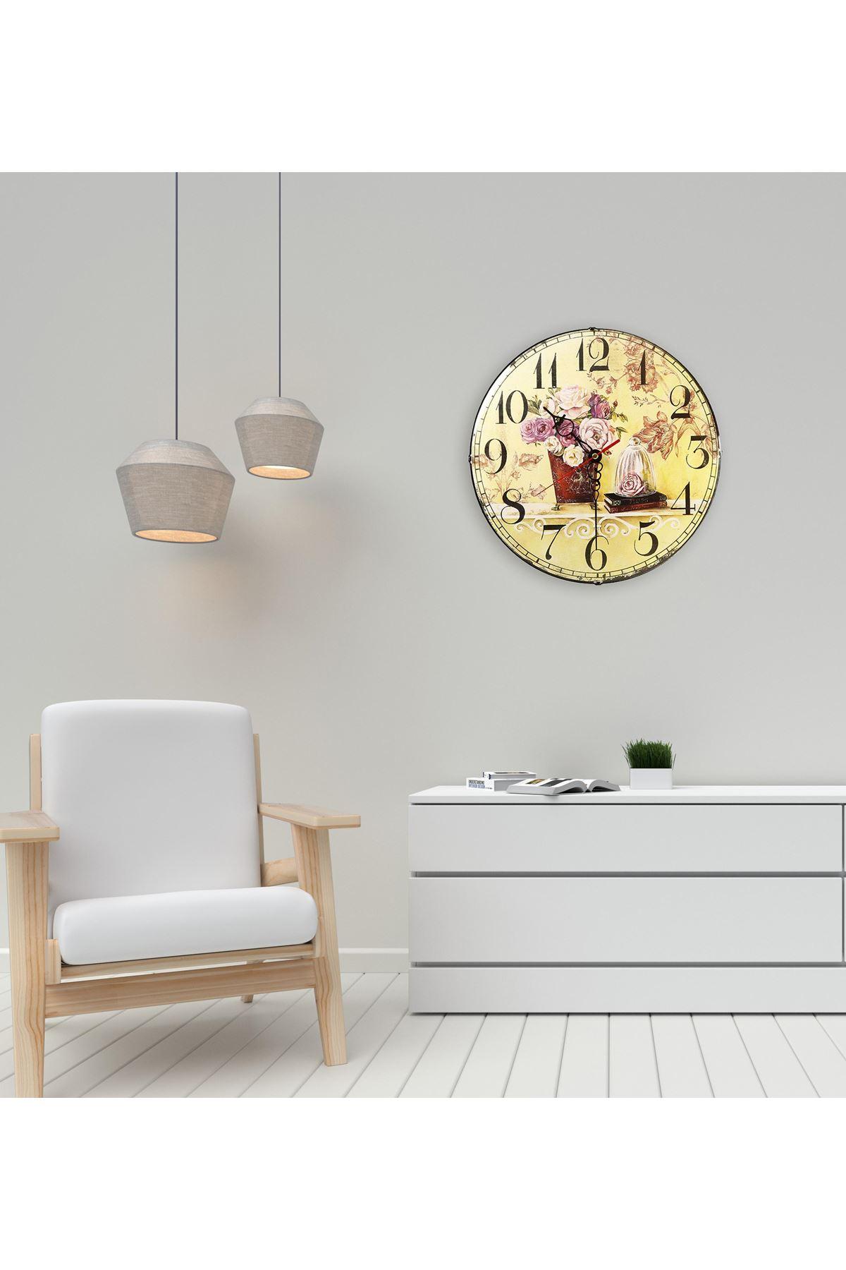 Rikon Çiçek Desenli Saksı Bombe Camlı Duvar Saati 35X35 Cm