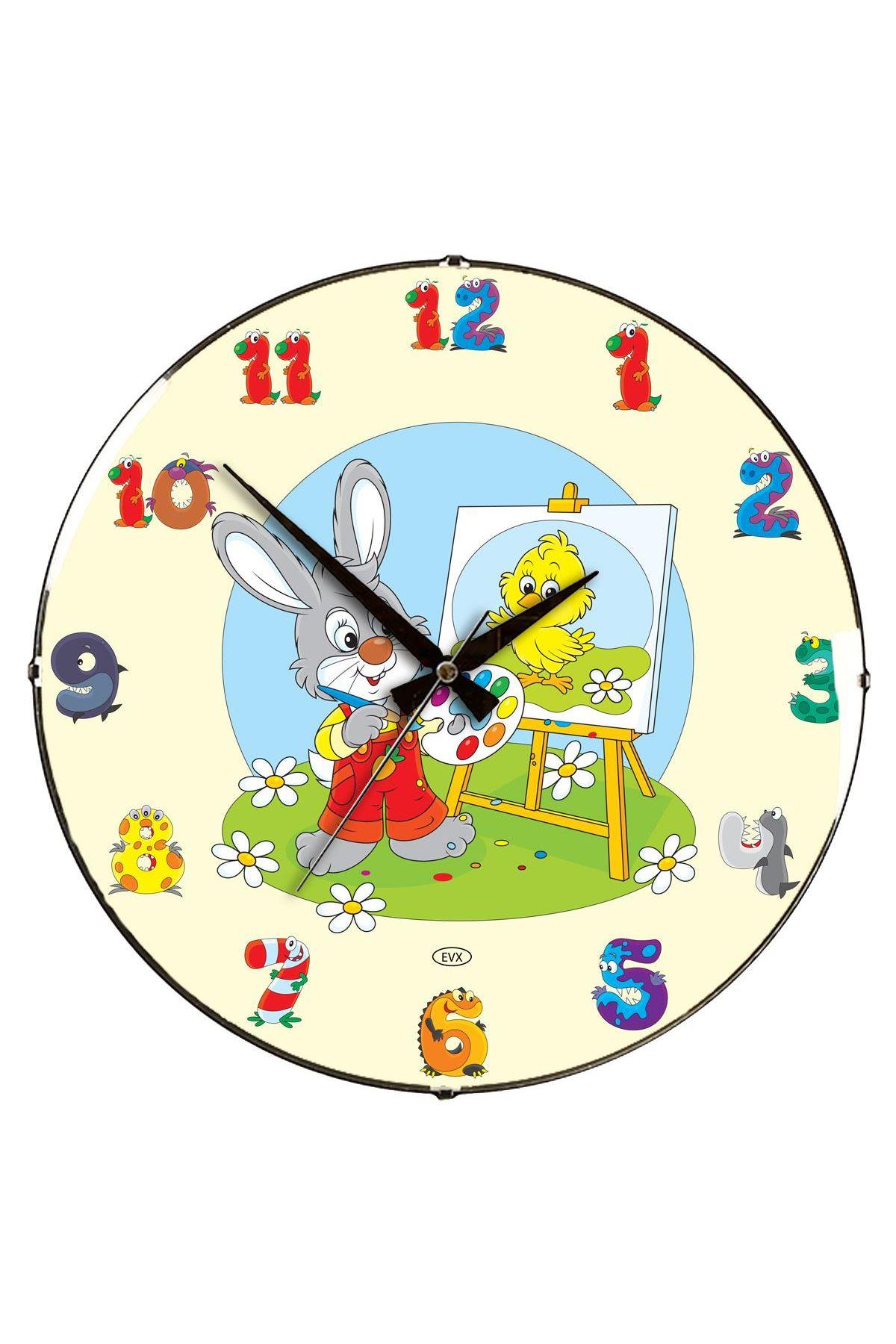 Rikon Çocuk Odası Tavşan Dekoratif Bombe Camlı Duvar Saati 35X35Cm