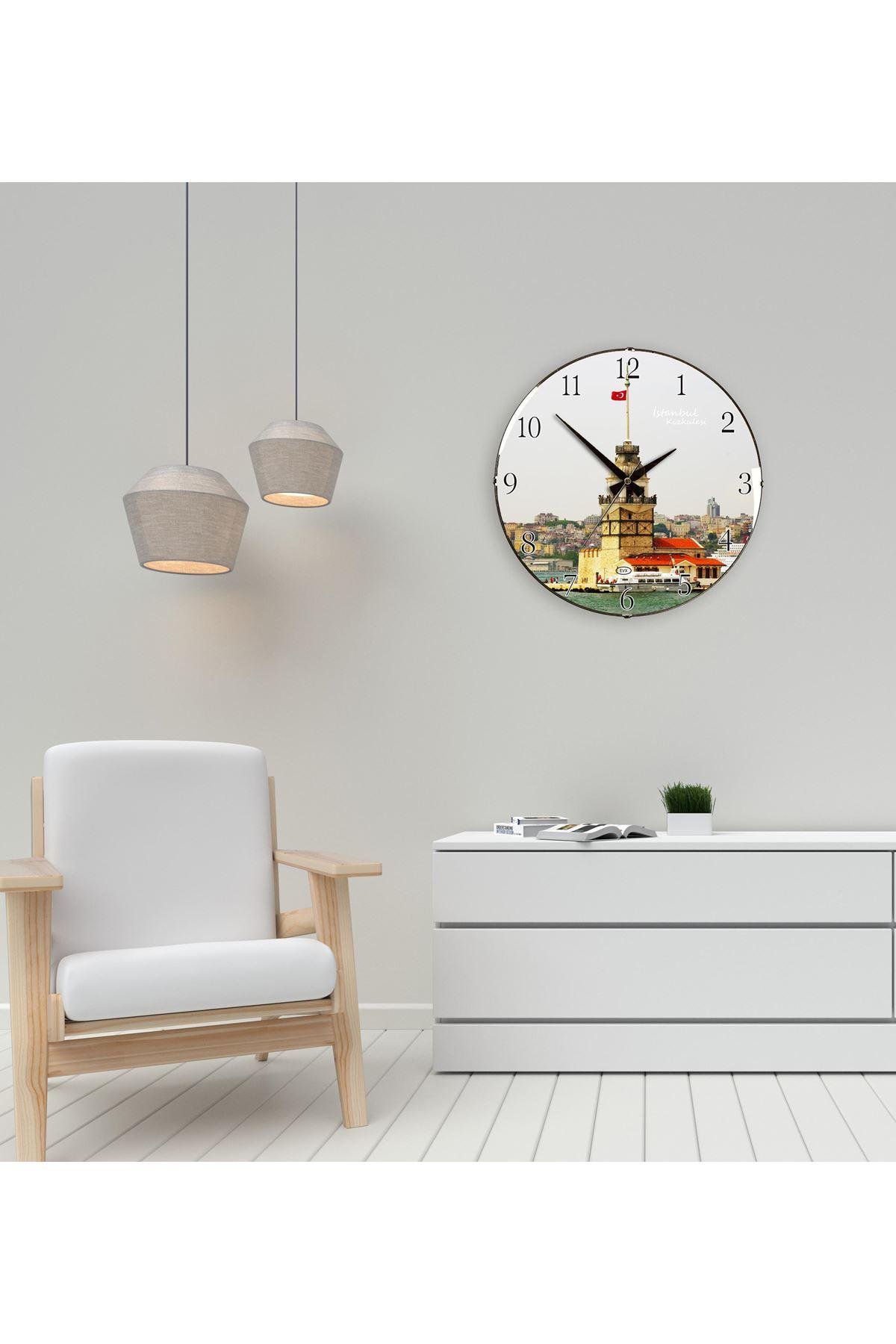 Rikon Kız Külesi Dekoratif Bombe Camlı Duvar Saati 35X35 Cm