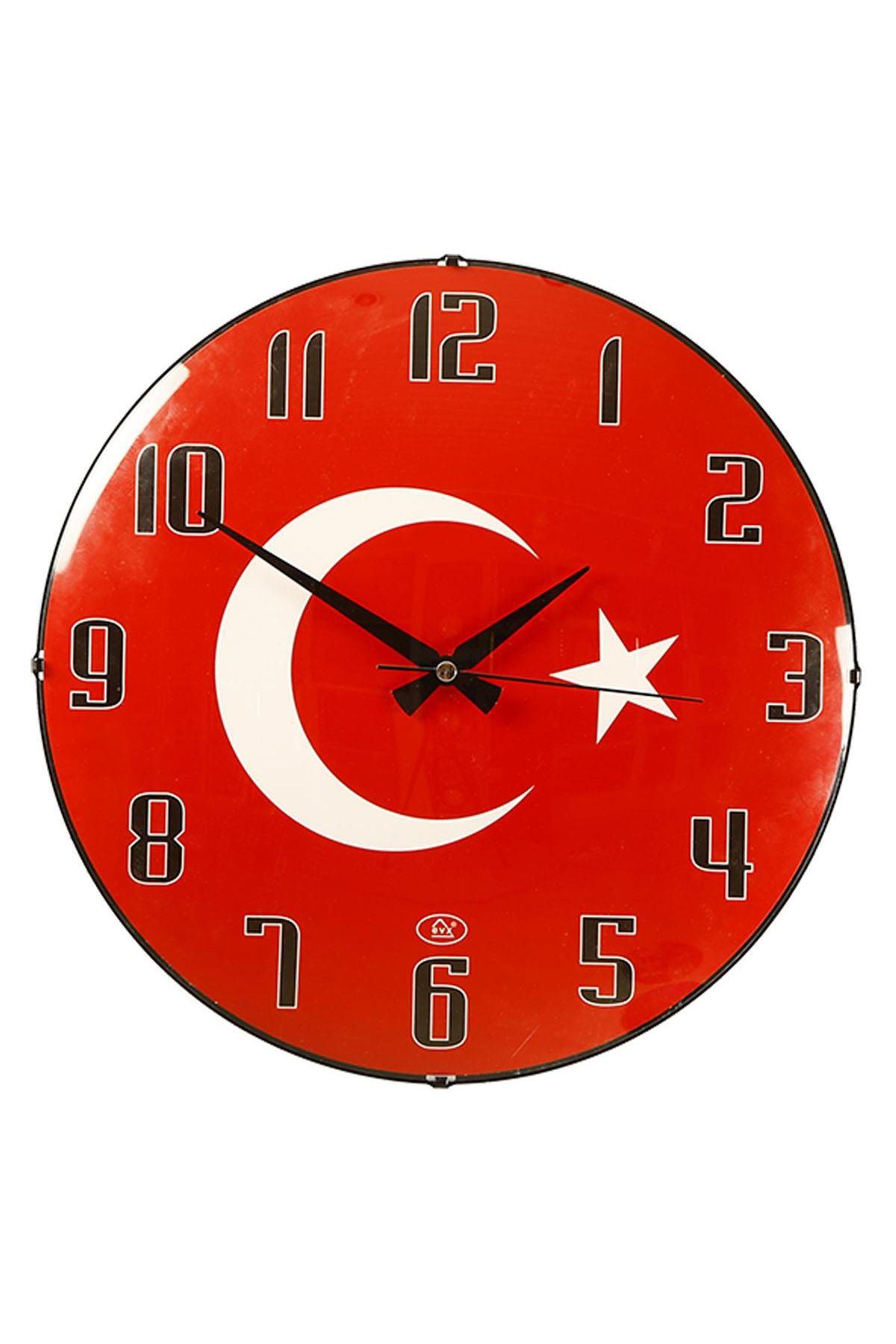 Rikon Dekoratif Bayrak Desenli Bombe Camlı Duvar Saati 35X35 Cm