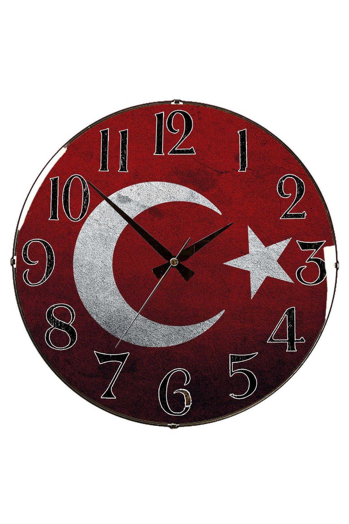 Rikon Türk Bayrağı Dekoratif Bombe Camlı Duvar Saati 35X35 Cm