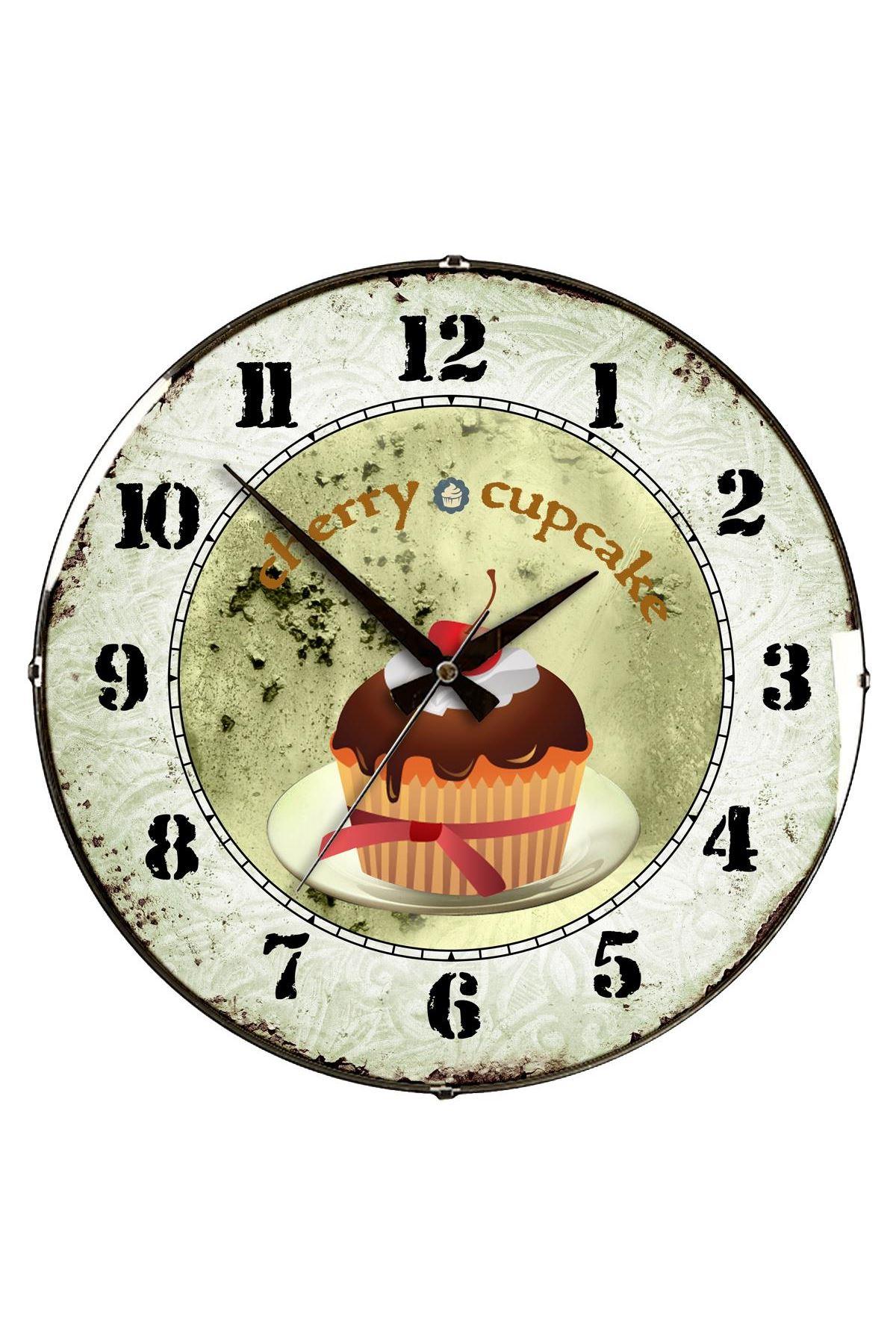 Rikon Cup Kek Mutfak Dekoratif Bombe Camlı Duvar Saati 35X35 Cm