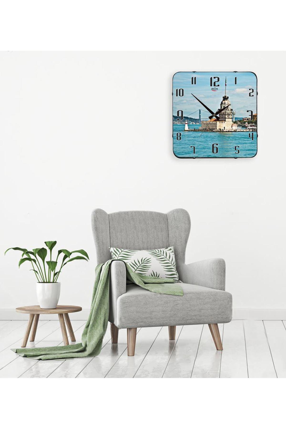Rikon Kız Kulesi Temalı Dekoratif Bombe Camlı Duvar Saati 35X35 Cm