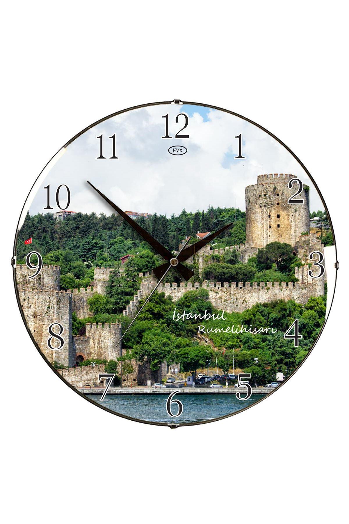 Rikon Anadolu Hisarı Dekoratif Bombe Camlı Duvar Saati 35X35 Cm