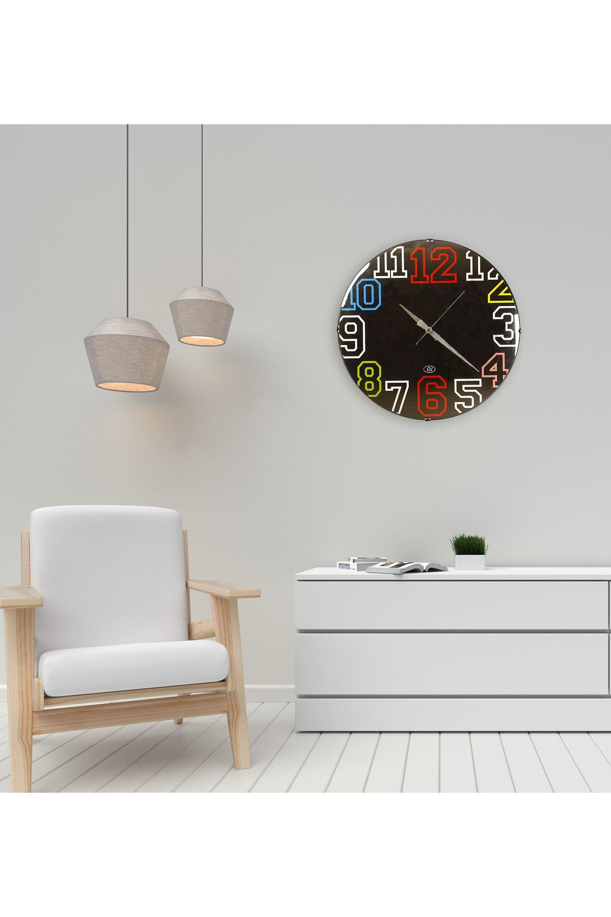 Rikon Renkli Rakamlar Dekoratif Bombe Camlı Duvar Saati 35X35 Cm