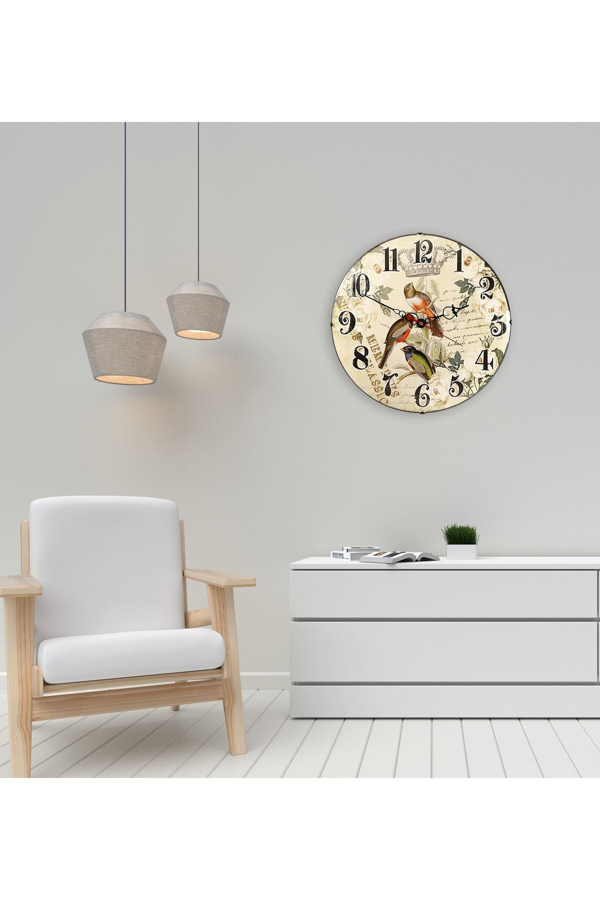 Rikon Eskitme Kuş Dekoratif Bombe Camlı Duvar Saati 35X35 Cm