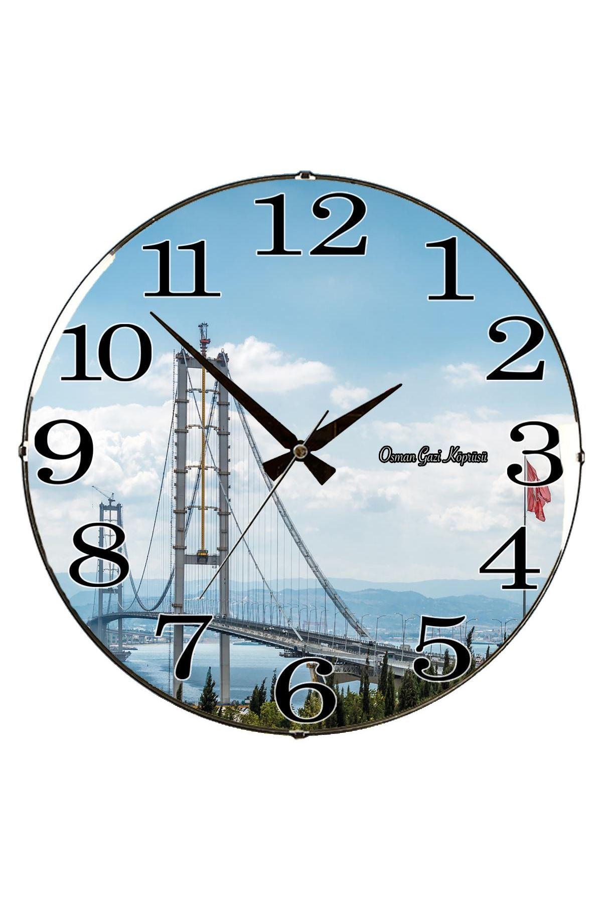 Rikon Osman Gazi Köprüsü Bombe Camlı Duvar Saati 35X35 Cm