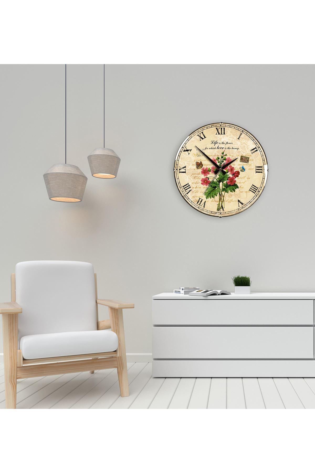 Rikon Eskitme Çiçekli Kelebek Dekoratif Bombe Camlı Duvar Saati