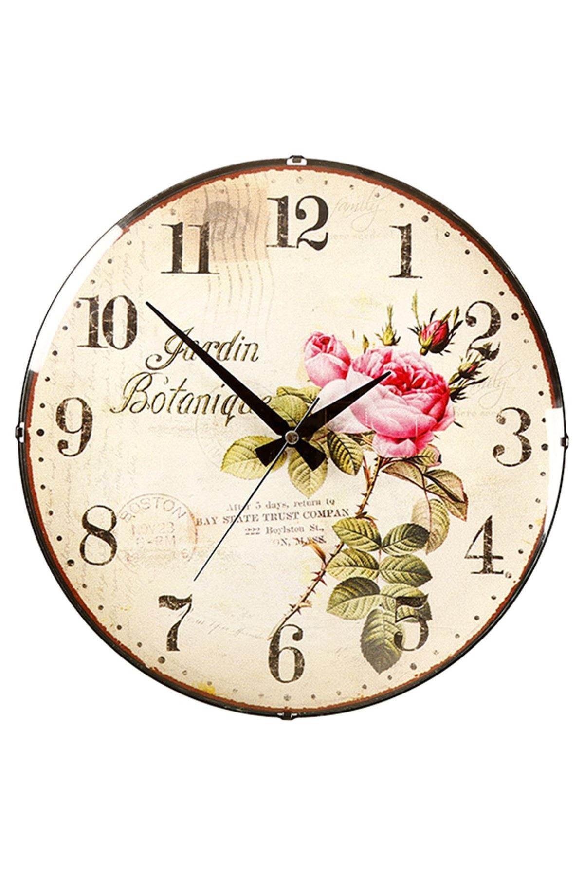 Rikon Çiçek Desenli Botanik Bombe Camlı Duvar Saati 35X35 Cm