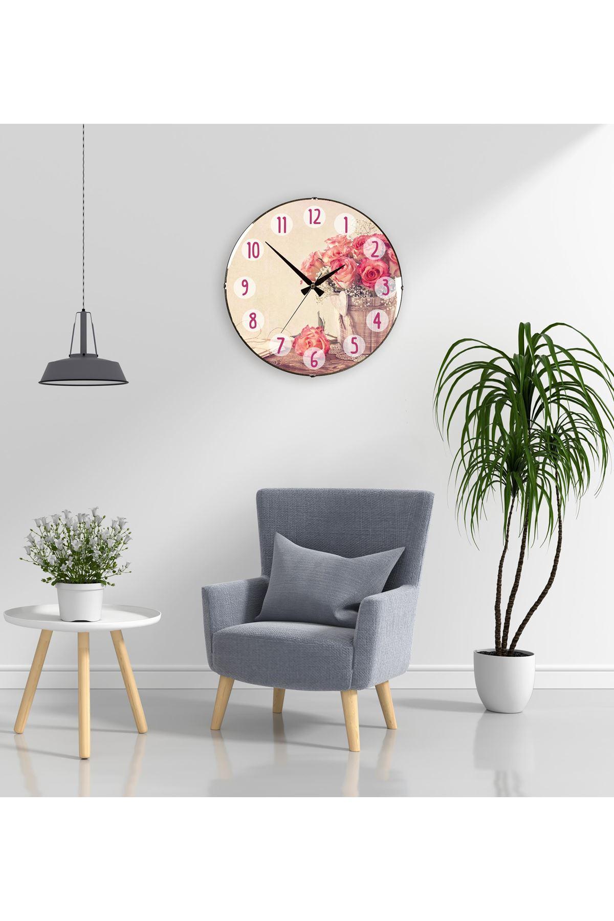 Rikon Dekoratif Eskitme Çiçekli Bombe Camlı Duvar Saati 35X35 Cm