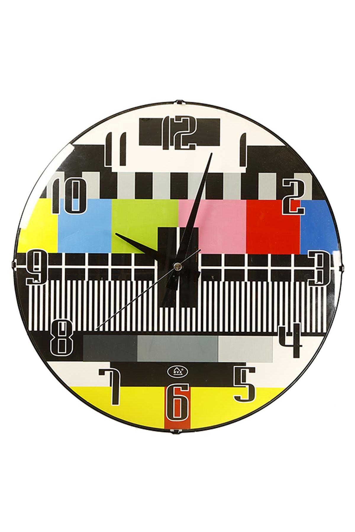 Rikon Trt Desenli Dekoratif Bombe Camlı Duvar Saati 35X35 Cm