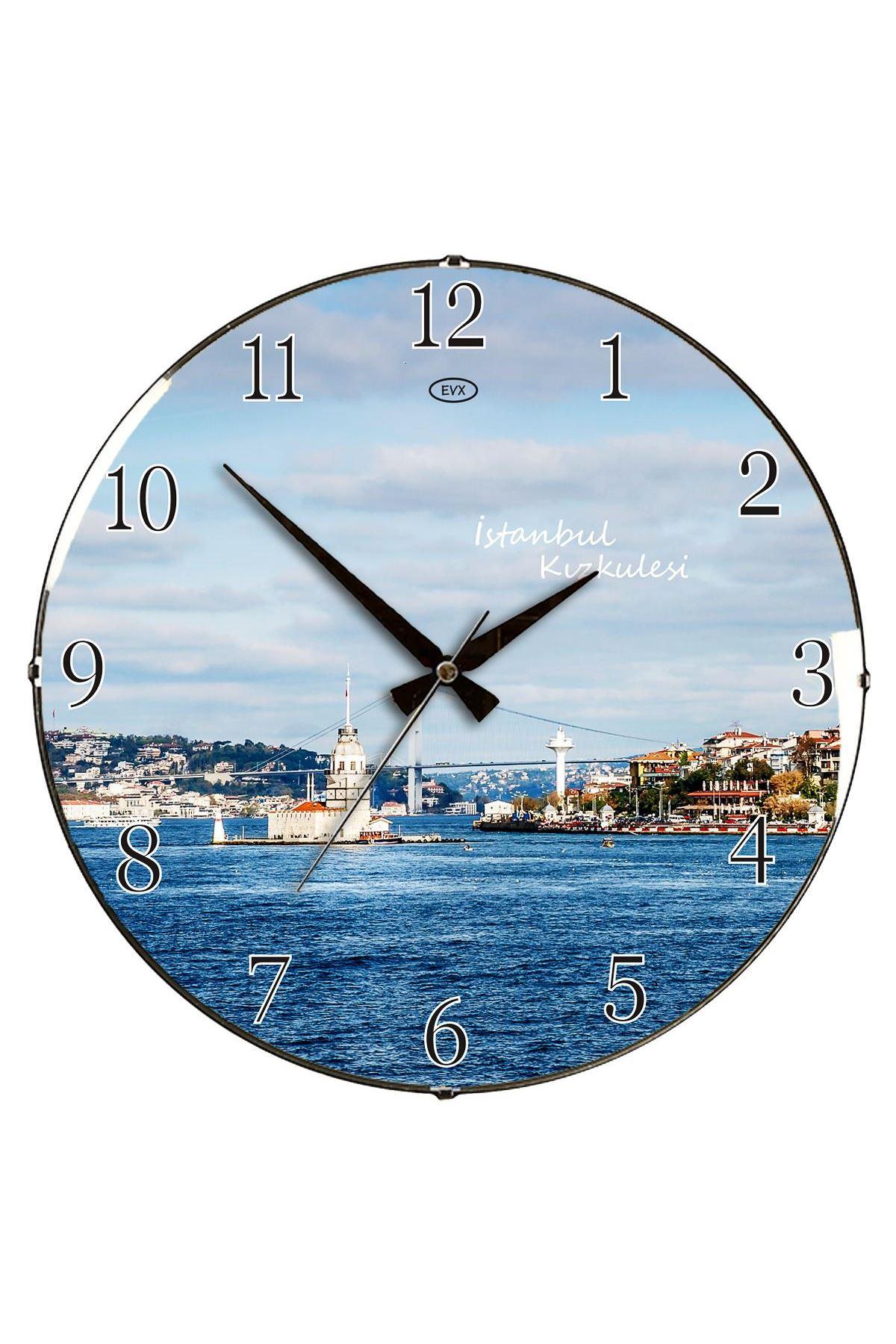 Rikon Kız Kulesi Dekoratif Mavi Bombe Camlı Duvar Saati 35X35 Cm