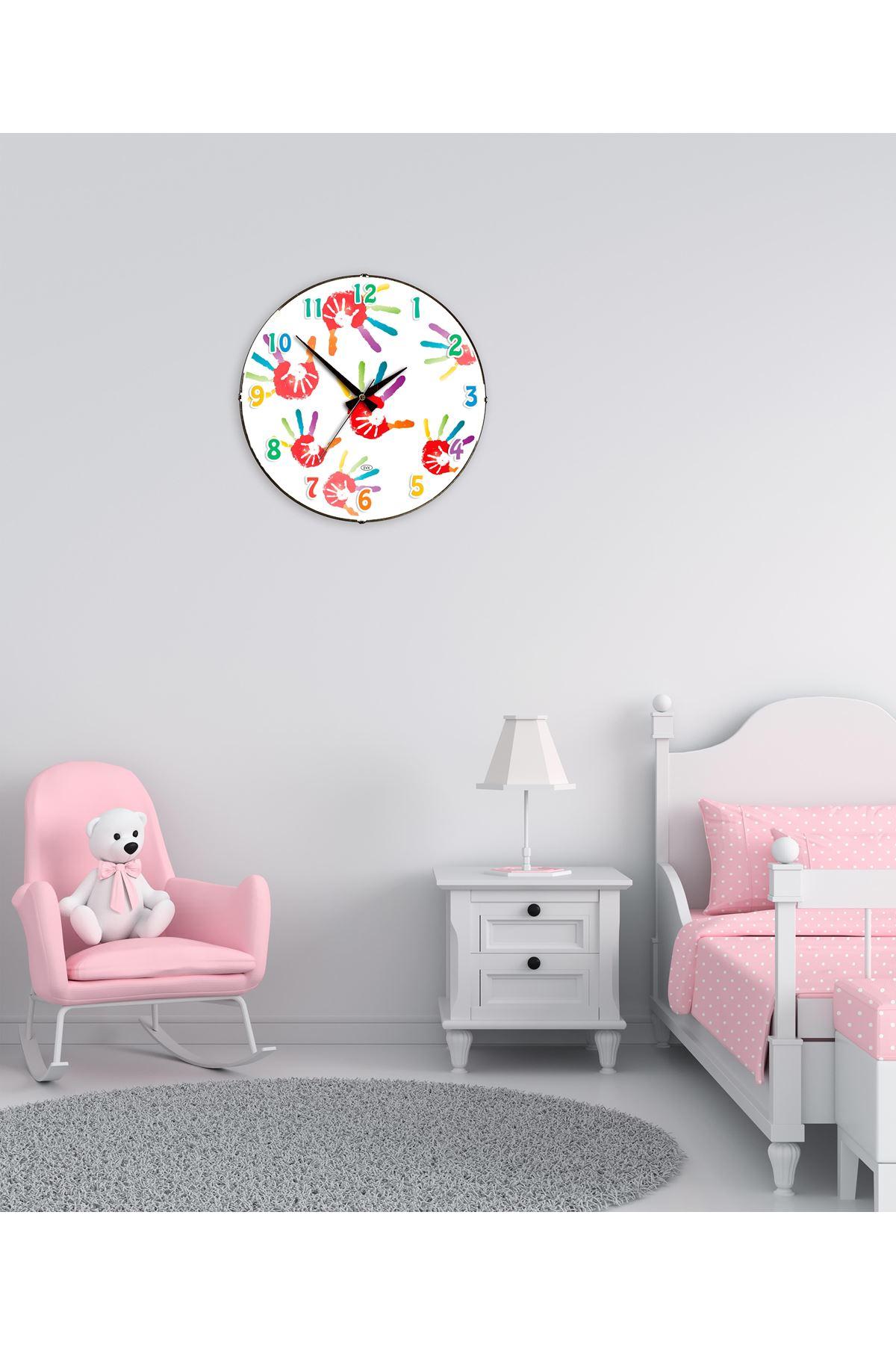 Rikon Çocuk Odası Renkli Dekoratif Bombe Camlı Duvar Saati 35X35