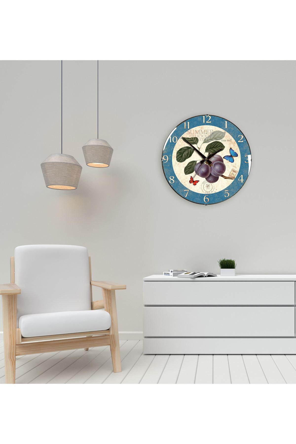 Rikon Çiçek Mutfak Dekoratif Bombe Camlı Duvar Saati 35X35 Cm