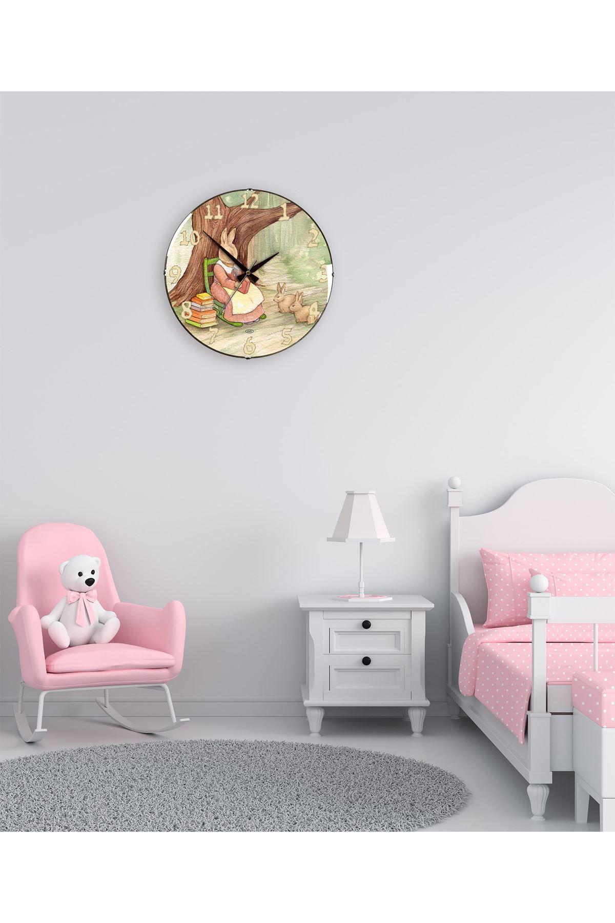 Rikon Çocuk Odası Tavşanlar Dekoratif Bombe Camlı Duvar Saati 35Cm
