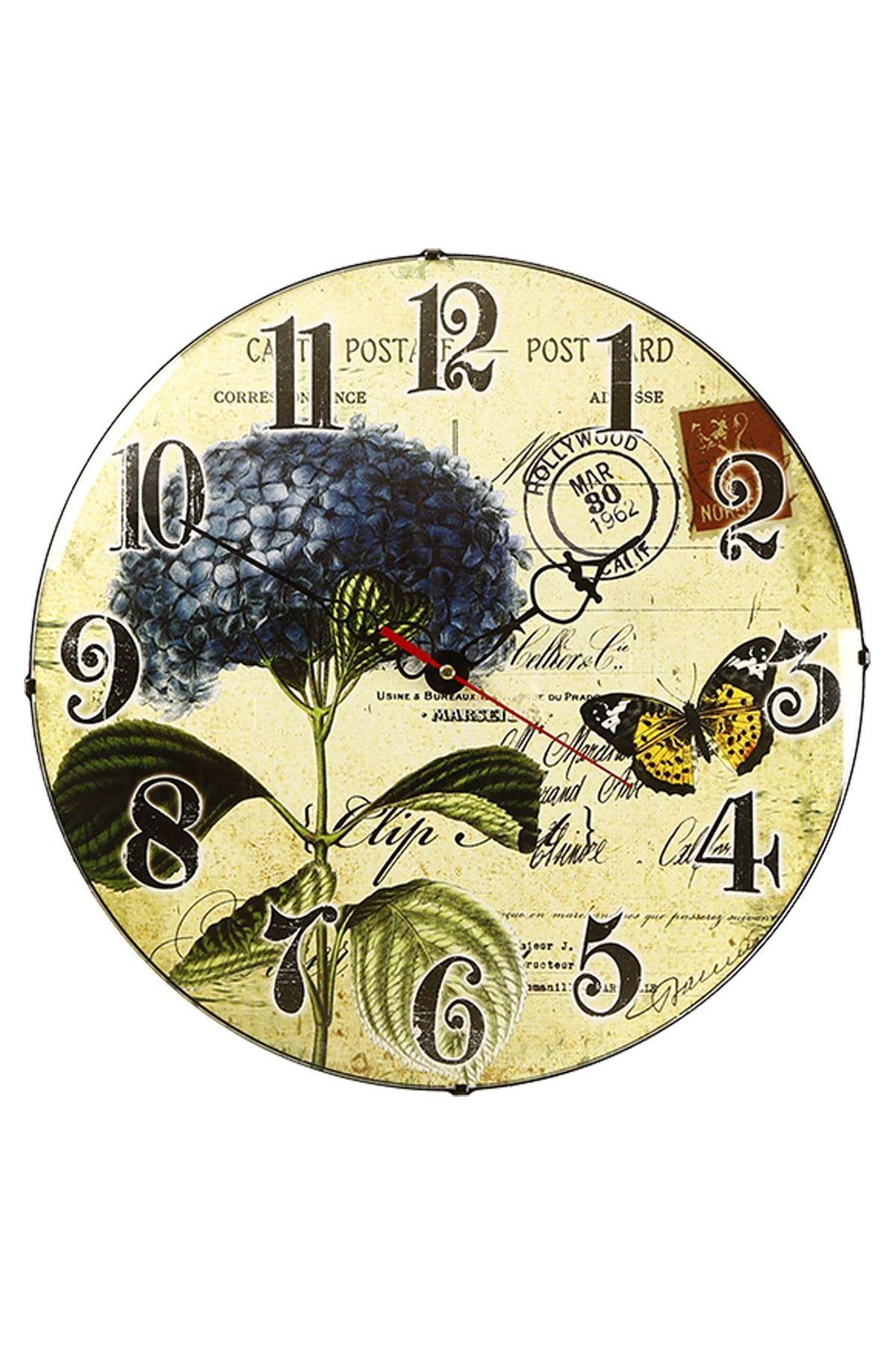 Rikon Mavi Çiçek Dekoratif Bombe Camlı Duvar Saati 35X35 Cm
